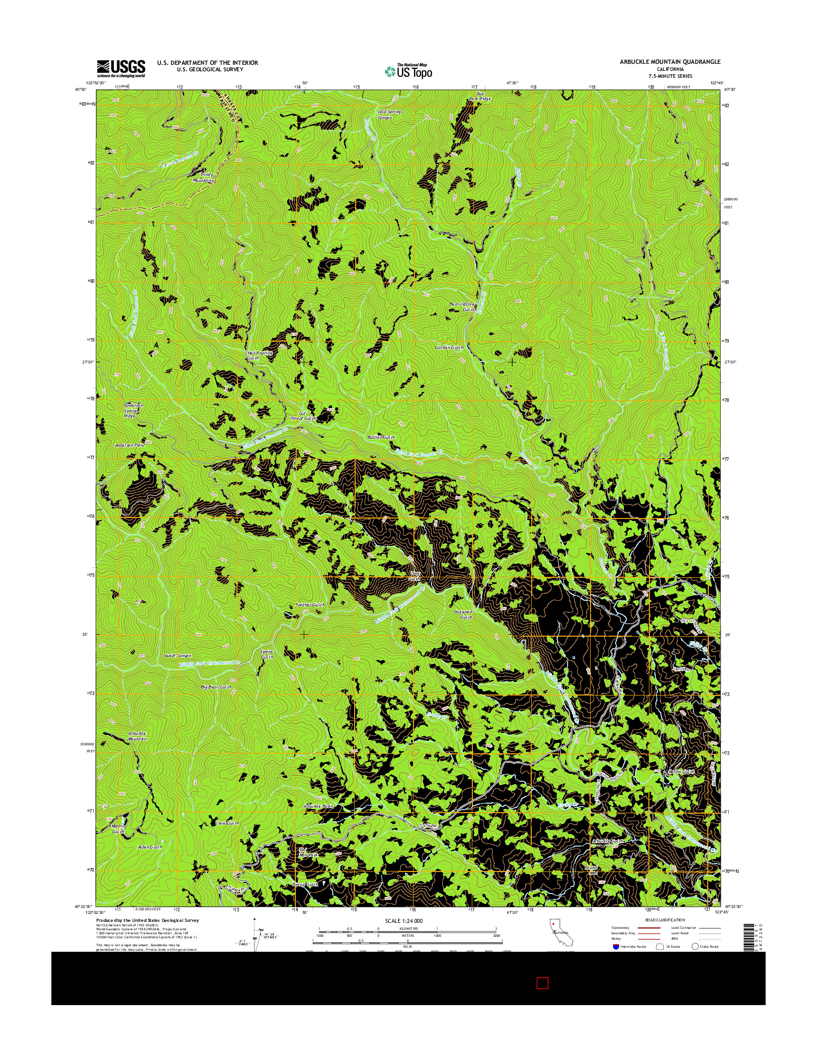 USGS US TOPO 7.5-MINUTE MAP FOR ARBUCKLE MOUNTAIN, CA 2015