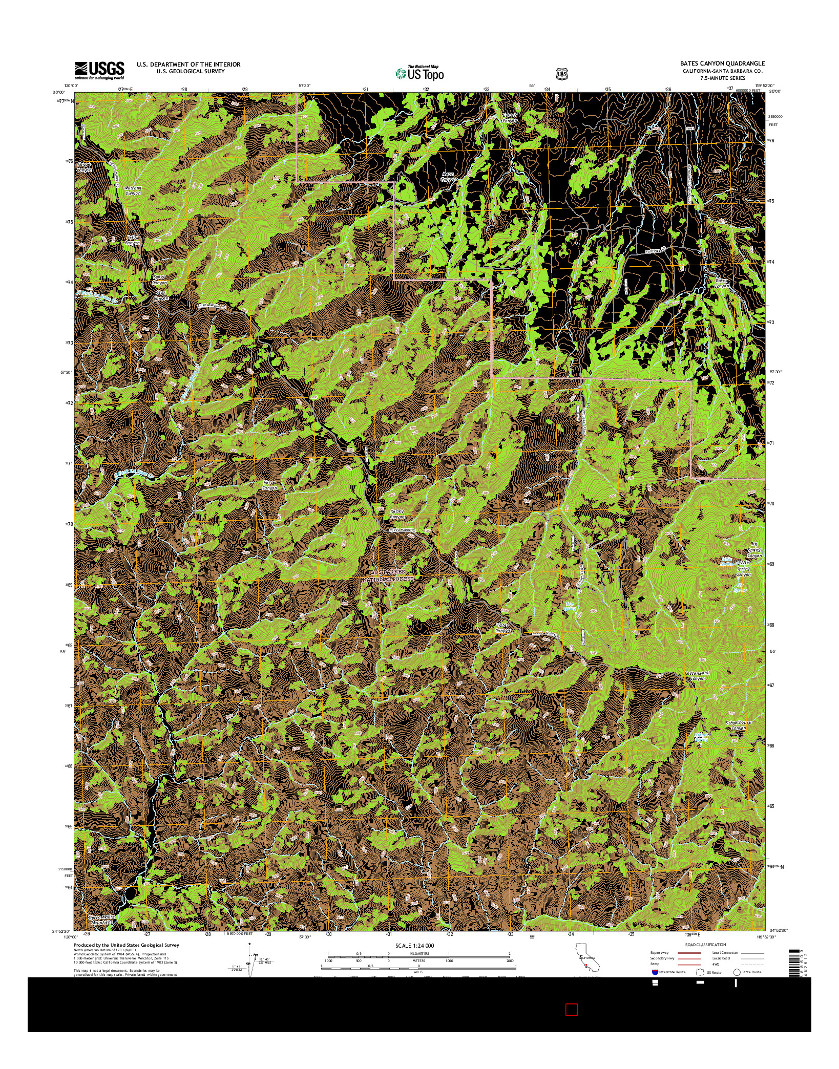USGS US TOPO 7.5-MINUTE MAP FOR BATES CANYON, CA 2015