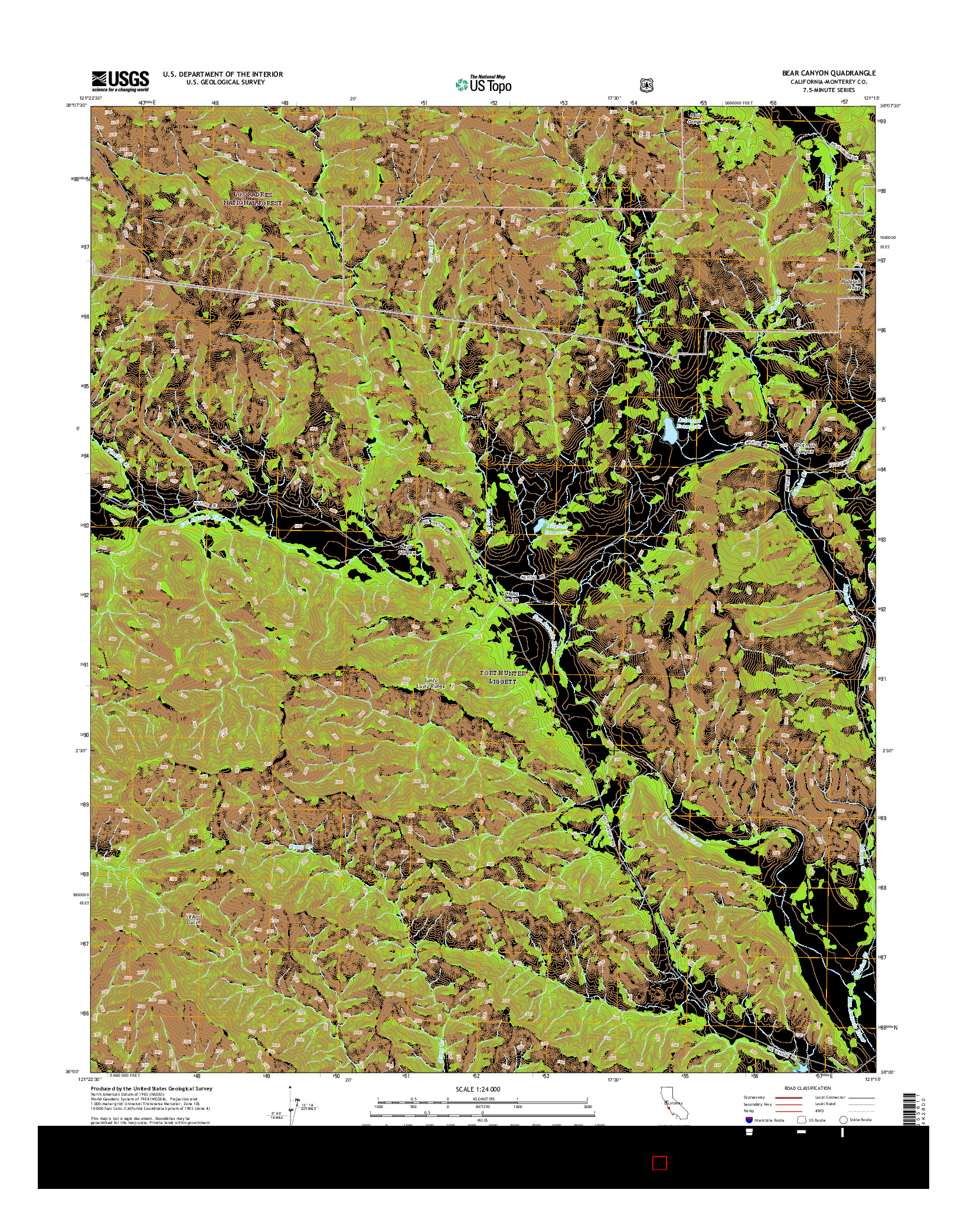 USGS US TOPO 7.5-MINUTE MAP FOR BEAR CANYON, CA 2015