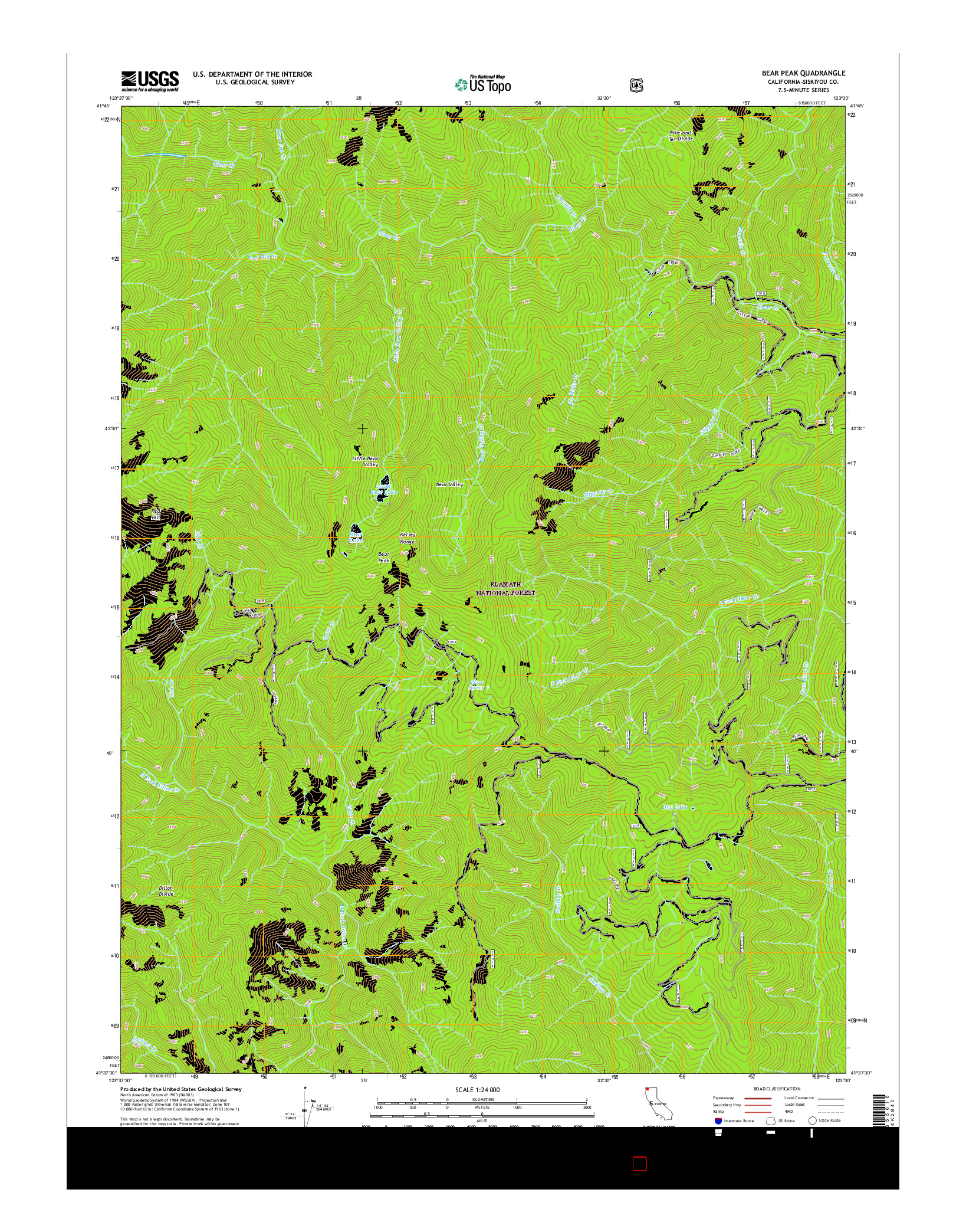 USGS US TOPO 7.5-MINUTE MAP FOR BEAR PEAK, CA 2015