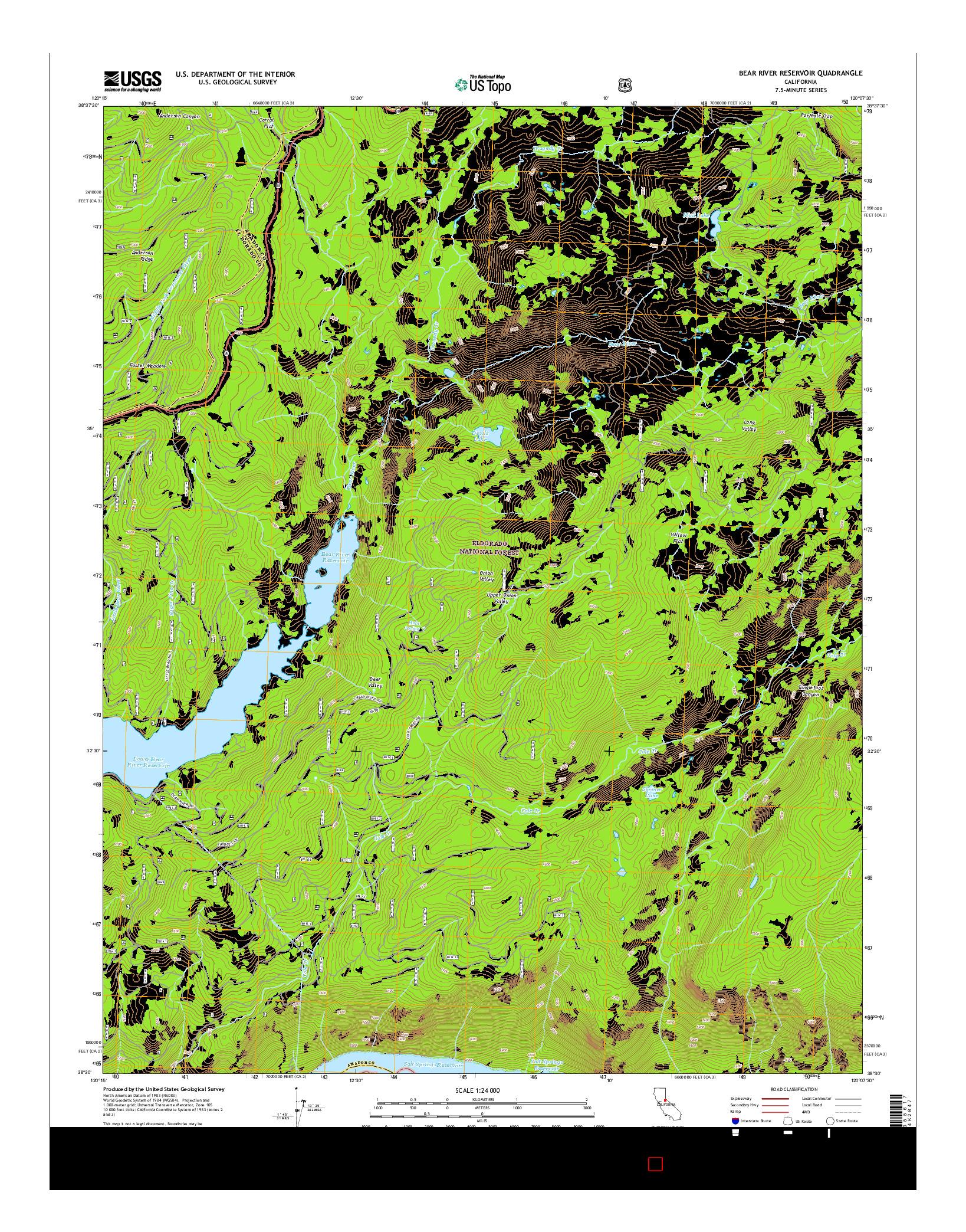 USGS US TOPO 7.5-MINUTE MAP FOR BEAR RIVER RESERVOIR, CA 2015