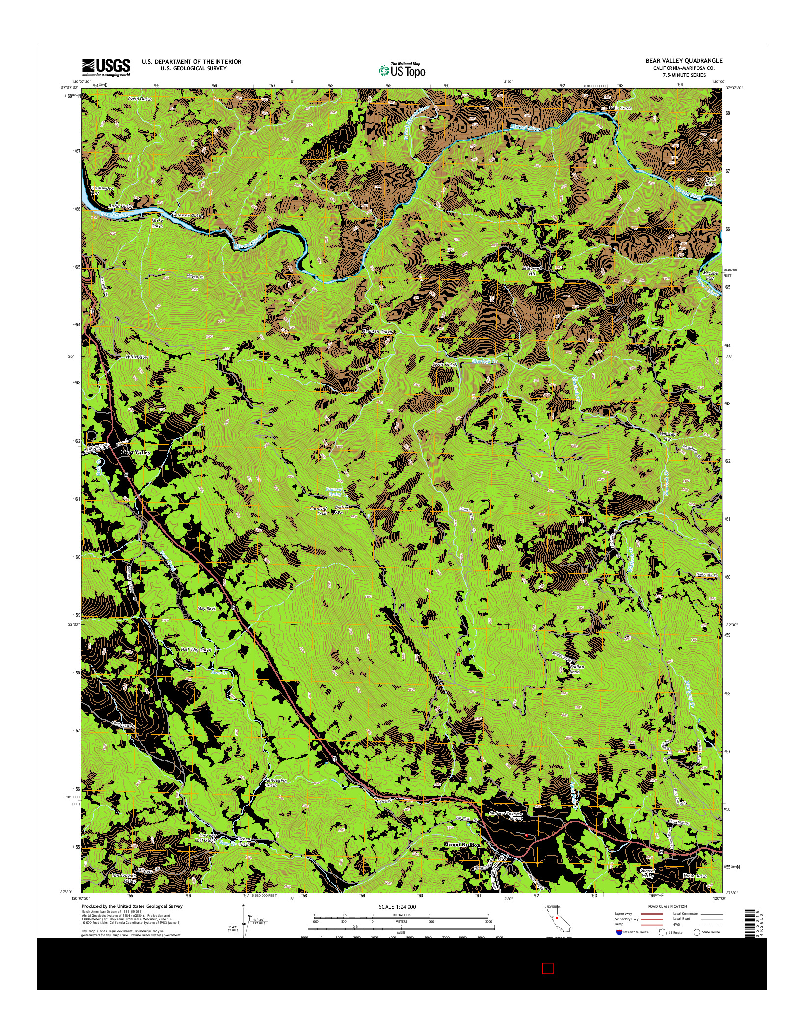 USGS US TOPO 7.5-MINUTE MAP FOR BEAR VALLEY, CA 2015