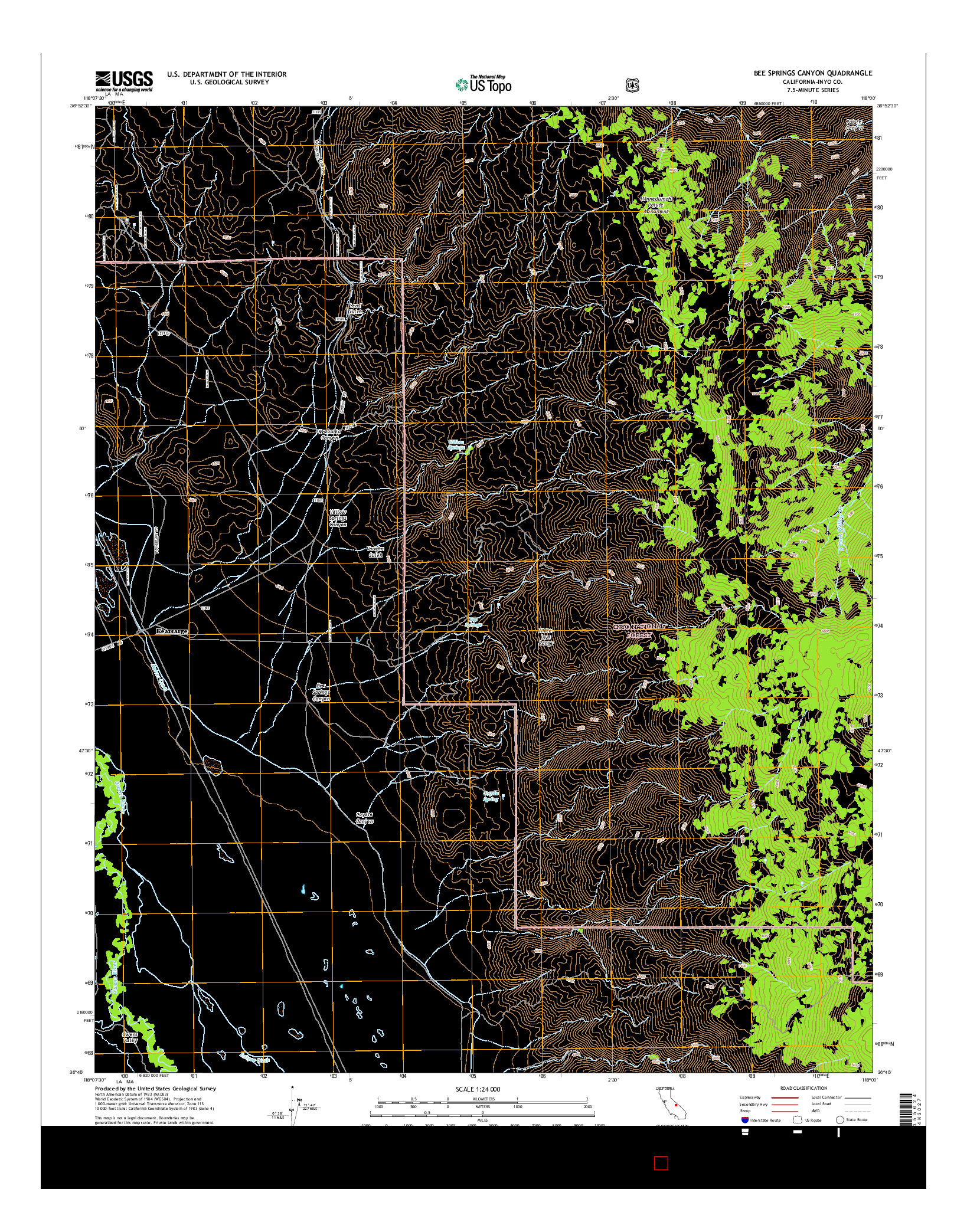 USGS US TOPO 7.5-MINUTE MAP FOR BEE SPRINGS CANYON, CA 2015