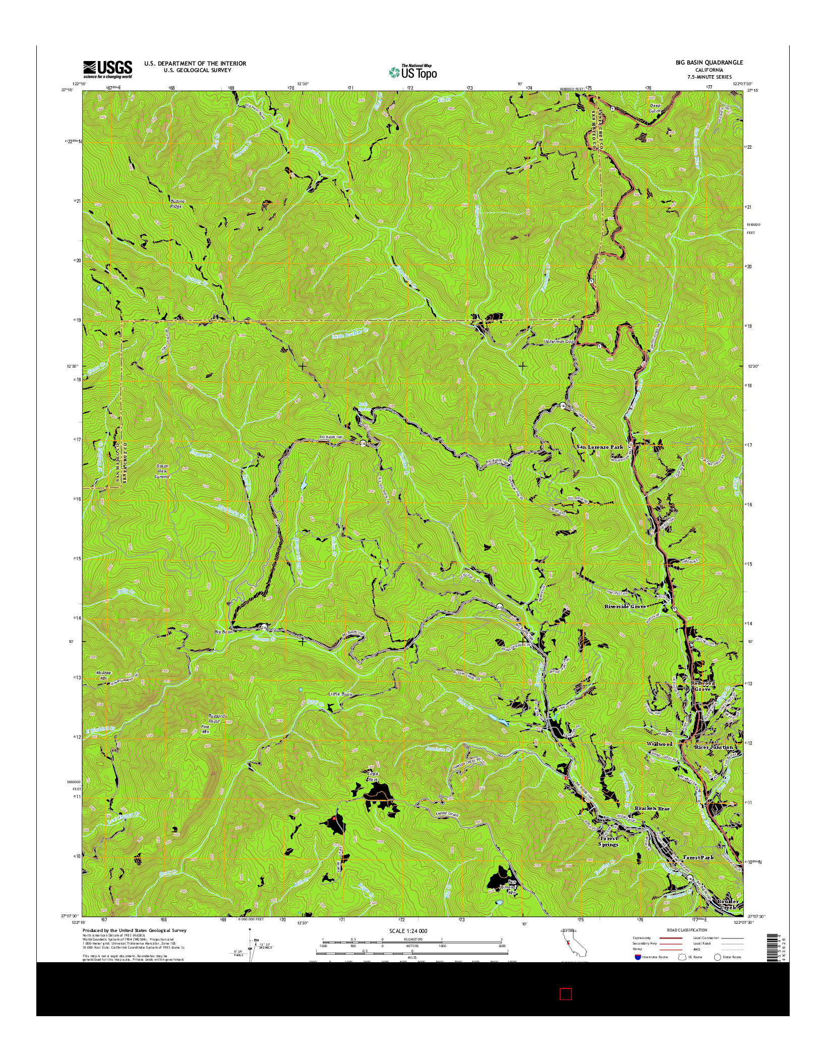 USGS US TOPO 7.5-MINUTE MAP FOR BIG BASIN, CA 2015