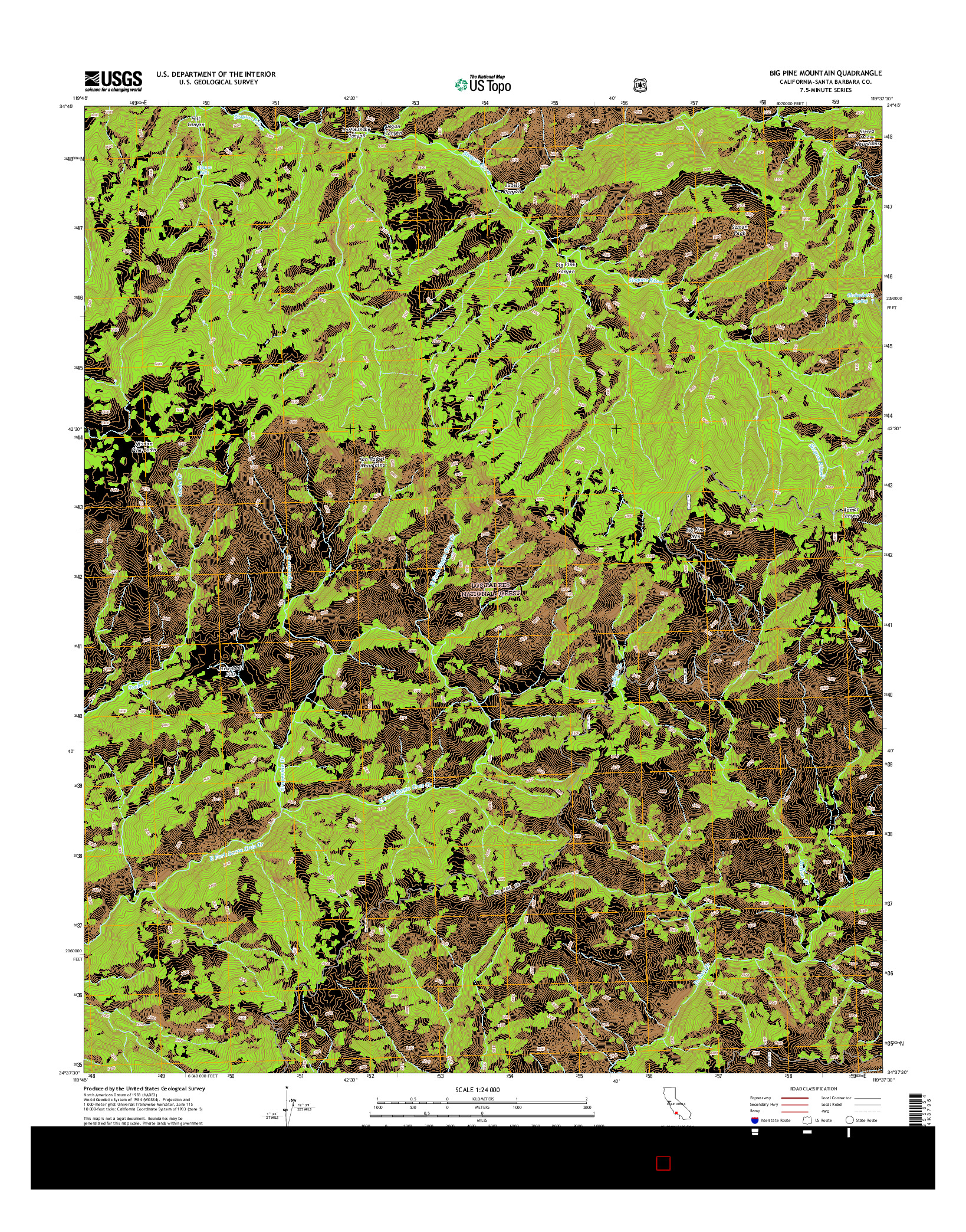 USGS US TOPO 7.5-MINUTE MAP FOR BIG PINE MOUNTAIN, CA 2015