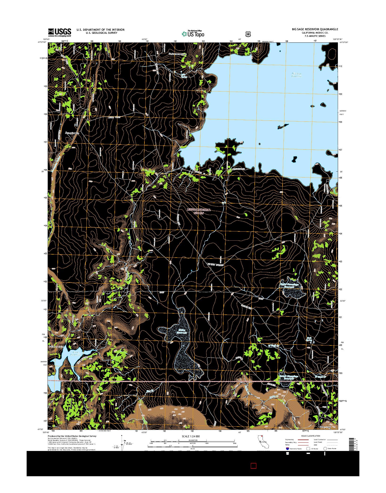 USGS US TOPO 7.5-MINUTE MAP FOR BIG SAGE RESERVOIR, CA 2015