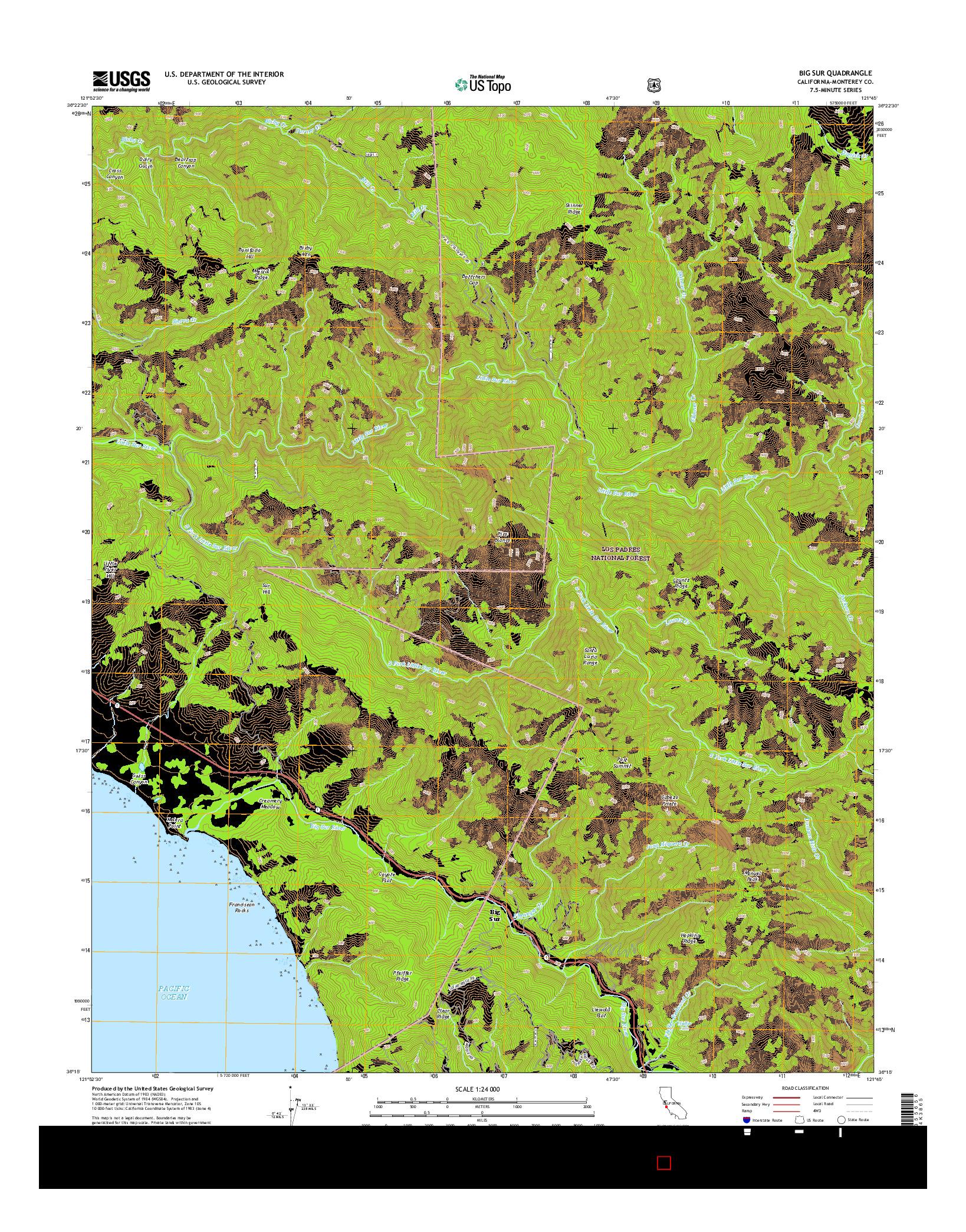 USGS US TOPO 7.5-MINUTE MAP FOR BIG SUR, CA 2015