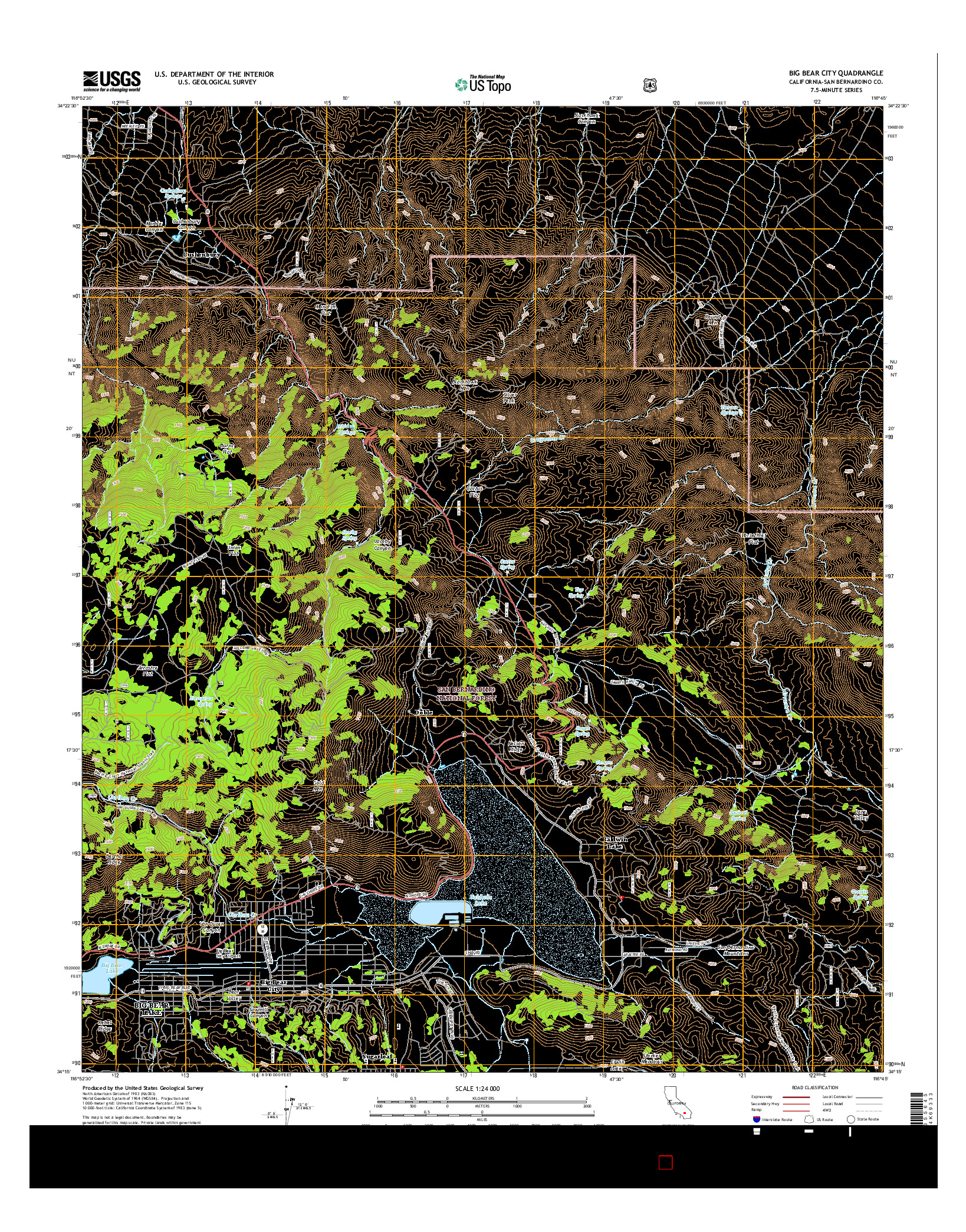 USGS US TOPO 7.5-MINUTE MAP FOR BIG BEAR CITY, CA 2015