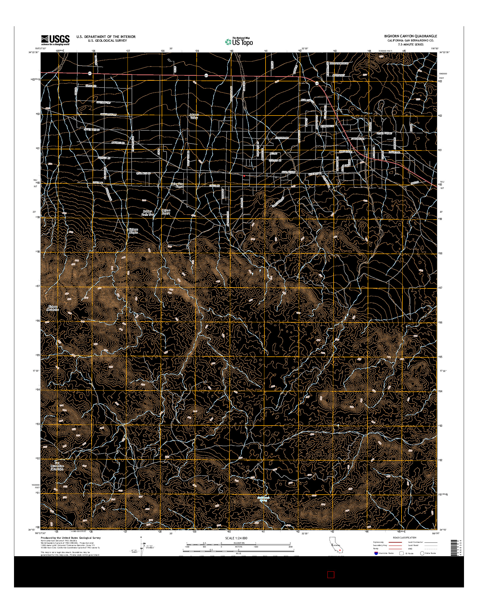 USGS US TOPO 7.5-MINUTE MAP FOR BIGHORN CANYON, CA 2015