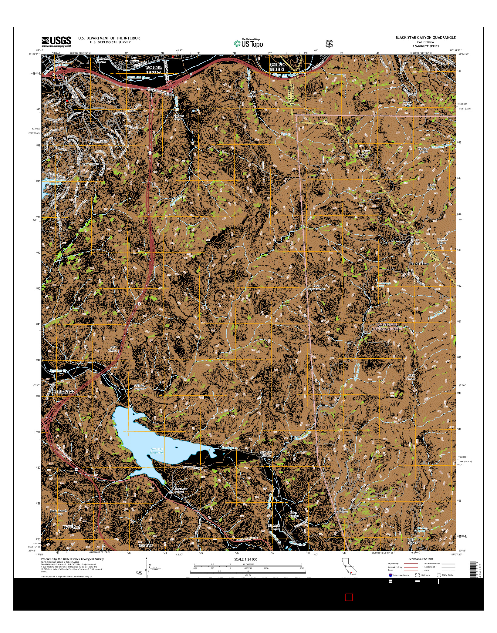 USGS US TOPO 7.5-MINUTE MAP FOR BLACK STAR CANYON, CA 2015