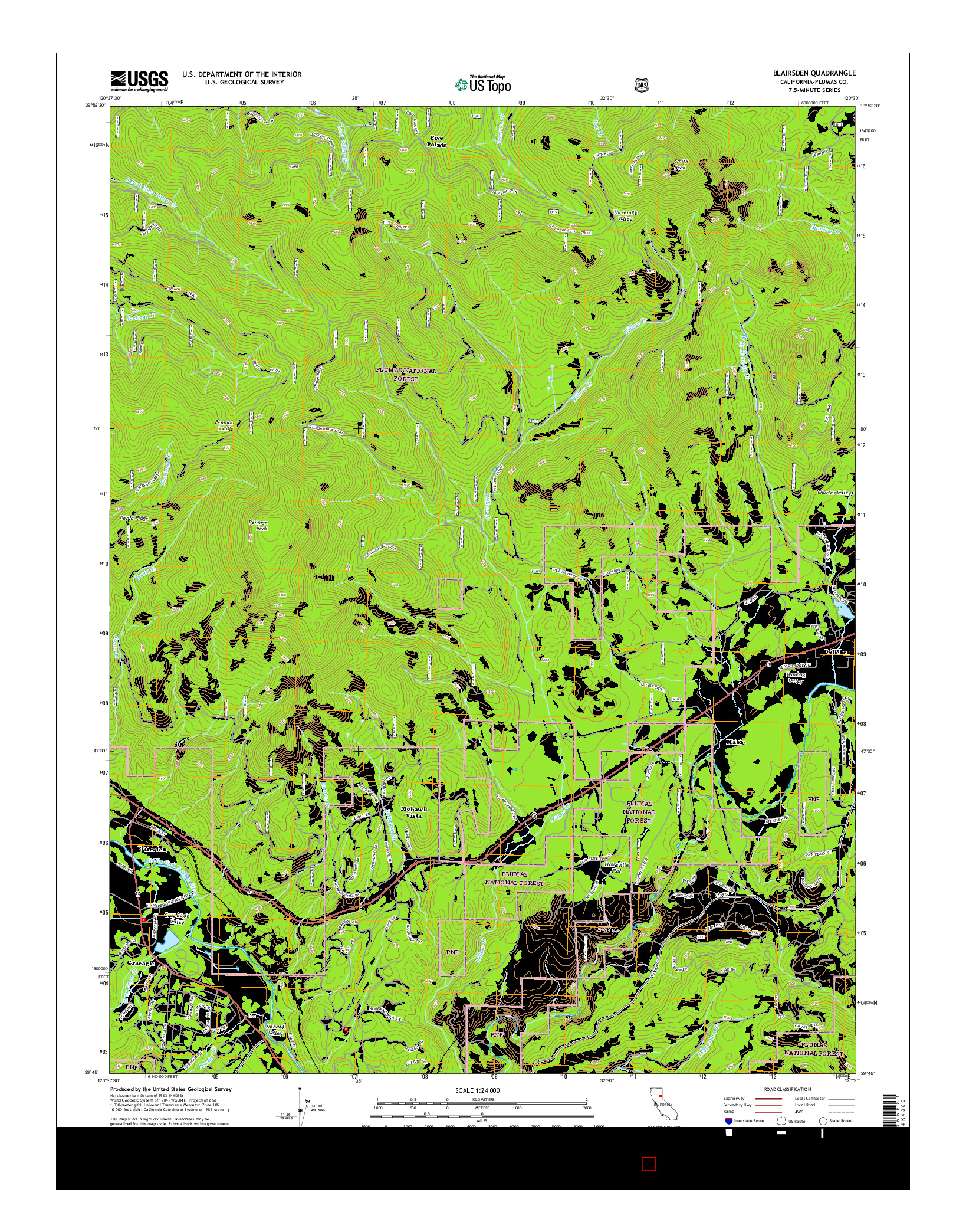 USGS US TOPO 7.5-MINUTE MAP FOR BLAIRSDEN, CA 2015