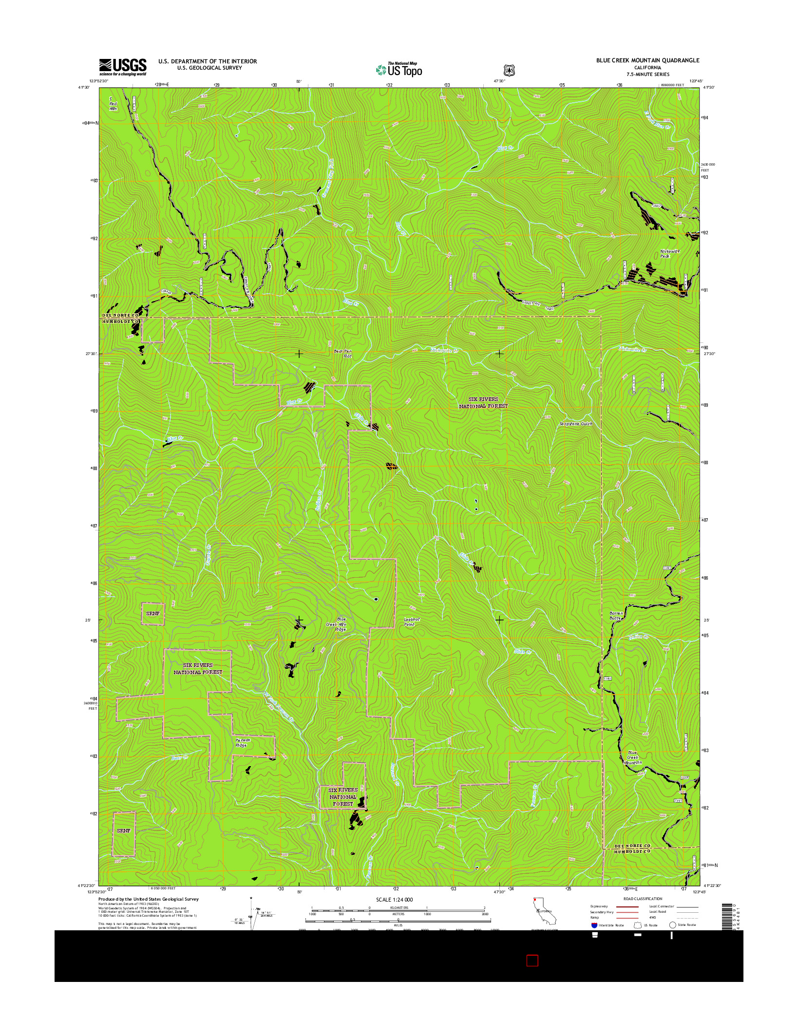 USGS US TOPO 7.5-MINUTE MAP FOR BLUE CREEK MOUNTAIN, CA 2015