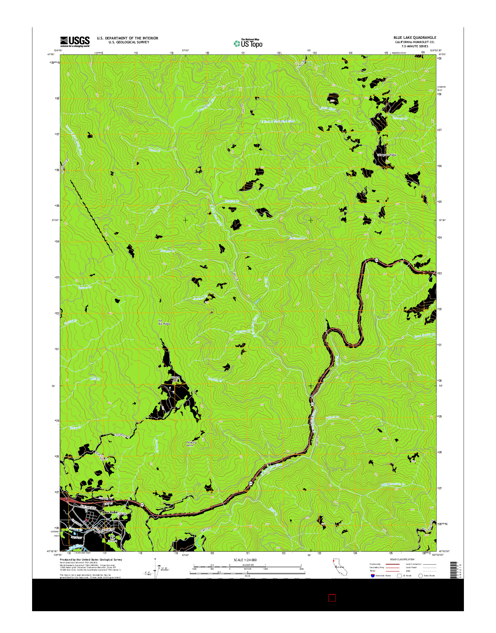 USGS US TOPO 7.5-MINUTE MAP FOR BLUE LAKE, CA 2015