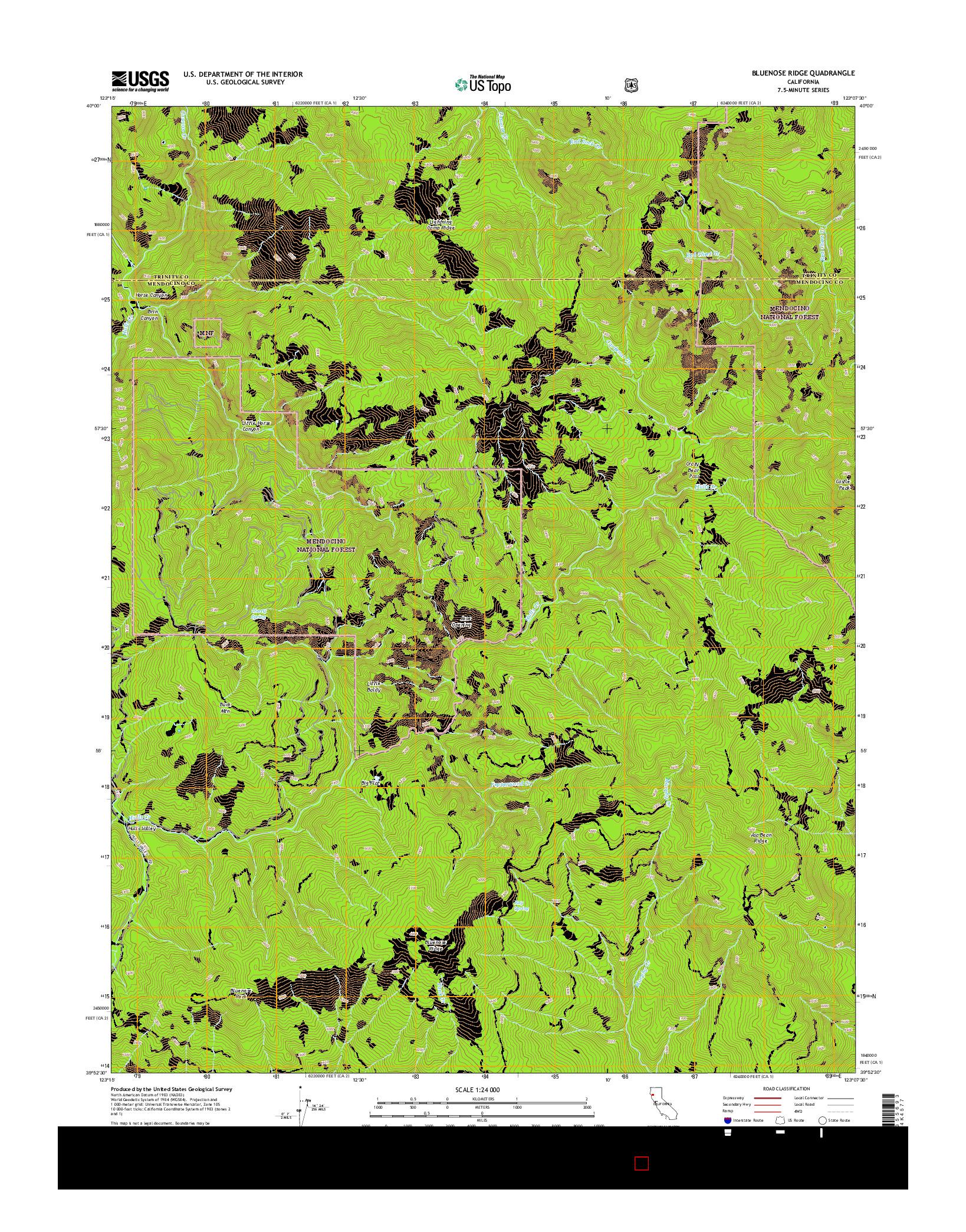 USGS US TOPO 7.5-MINUTE MAP FOR BLUENOSE RIDGE, CA 2015