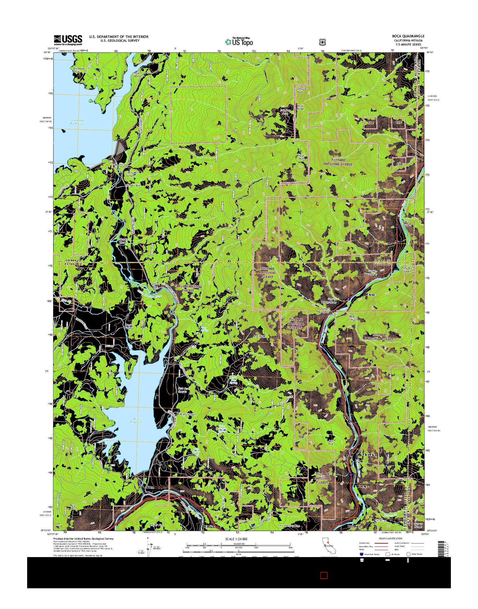 USGS US TOPO 7.5-MINUTE MAP FOR BOCA, CA-NV 2015