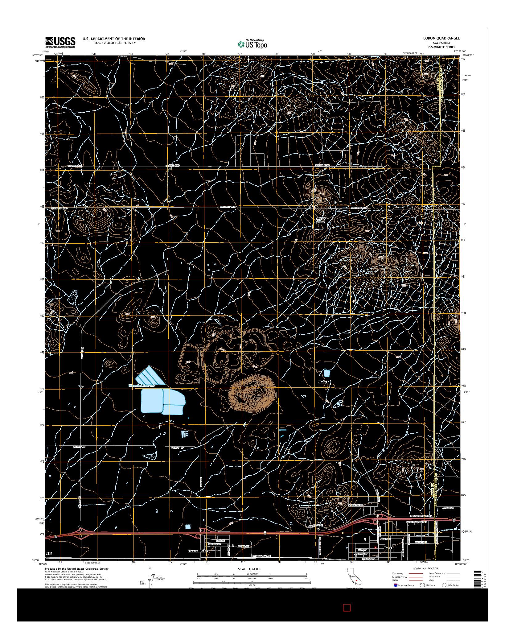USGS US TOPO 7.5-MINUTE MAP FOR BORON, CA 2015