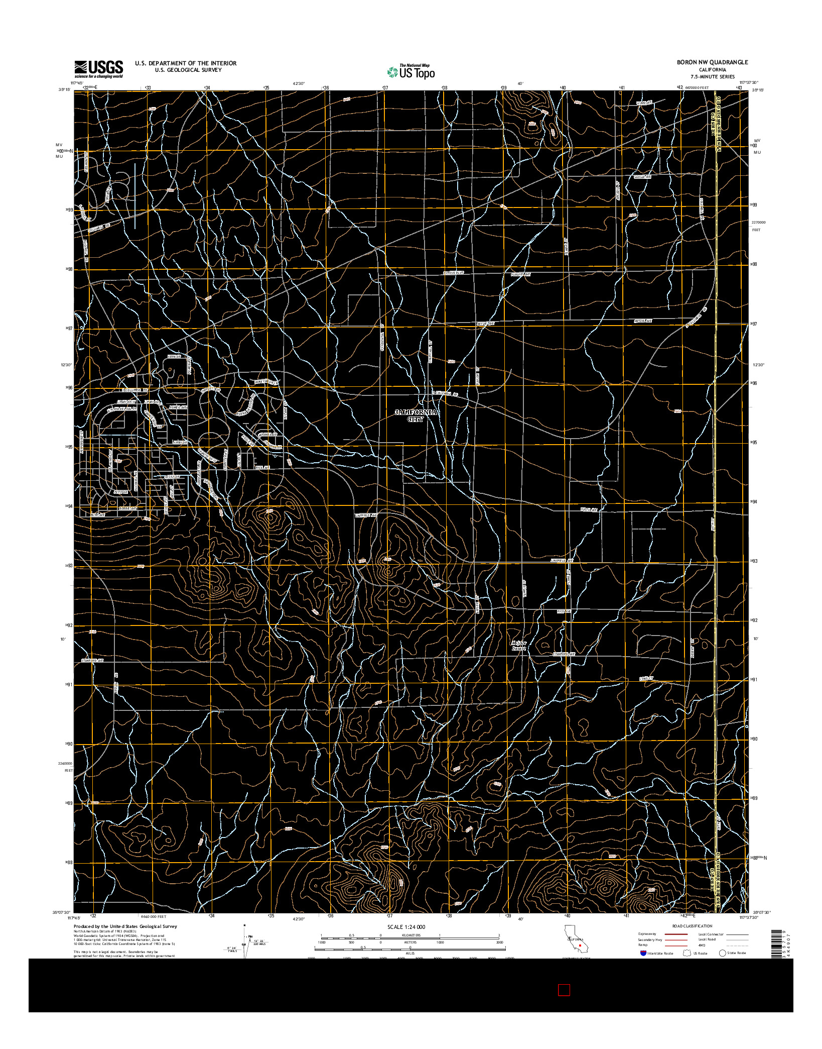 USGS US TOPO 7.5-MINUTE MAP FOR BORON NW, CA 2015
