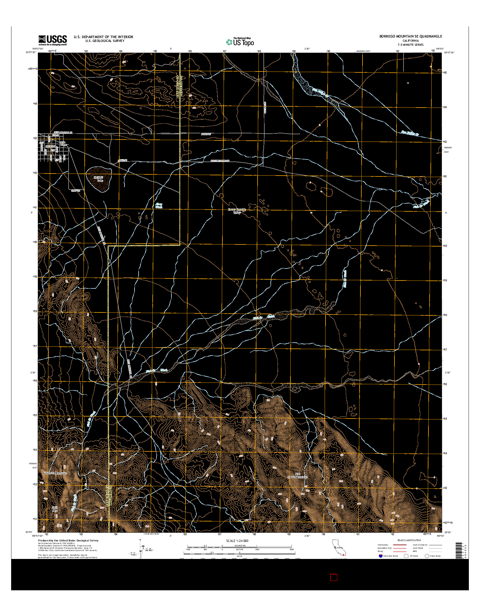 USGS US TOPO 7.5-MINUTE MAP FOR BORREGO MOUNTAIN SE, CA 2015
