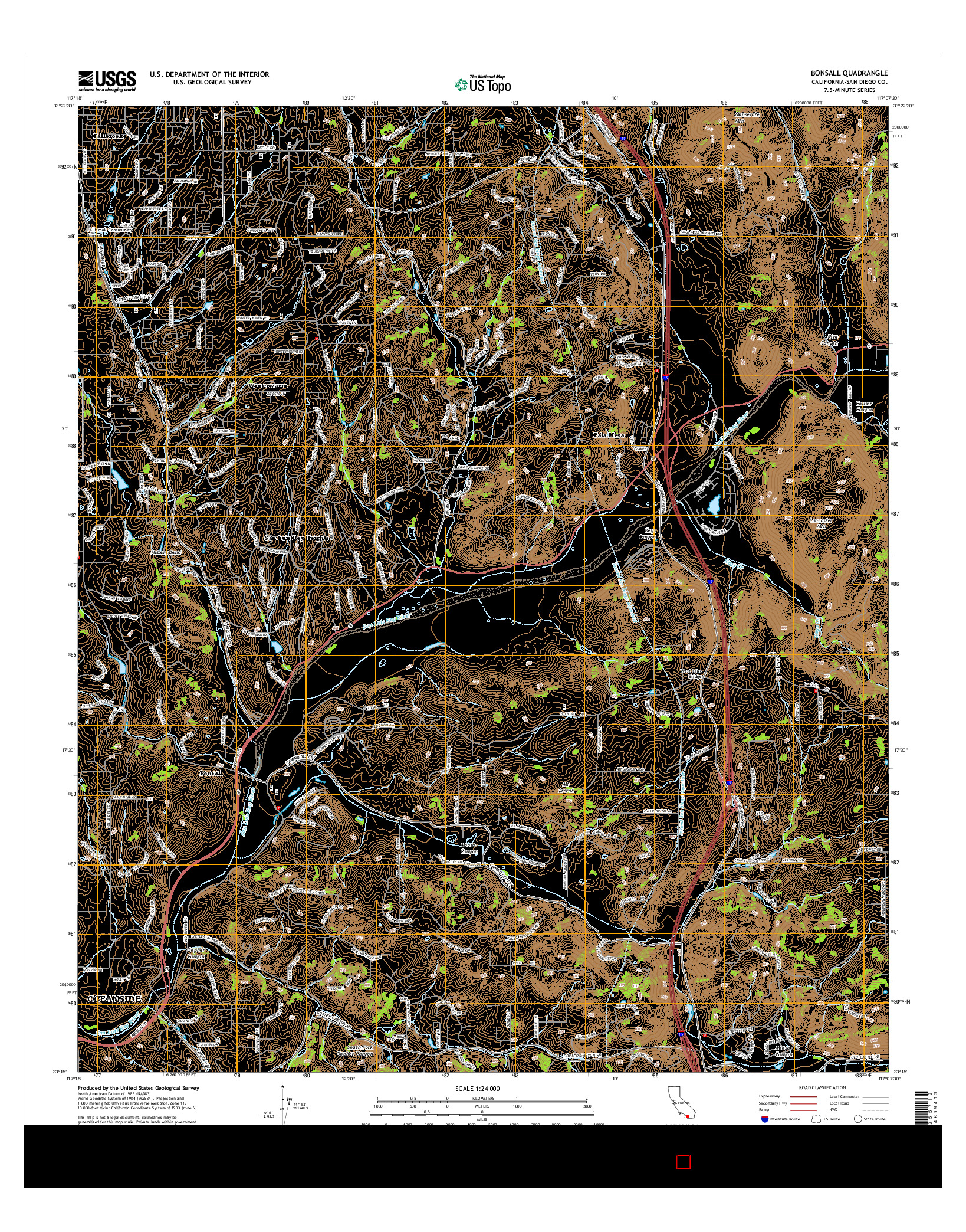 USGS US TOPO 7.5-MINUTE MAP FOR BONSALL, CA 2015