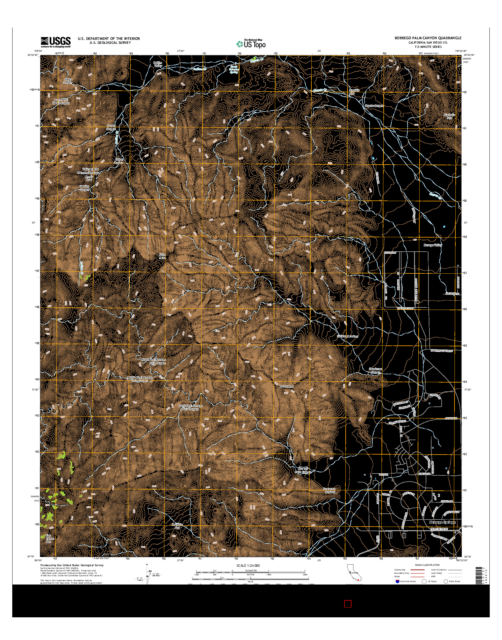 USGS US TOPO 7.5-MINUTE MAP FOR BORREGO PALM CANYON, CA 2015