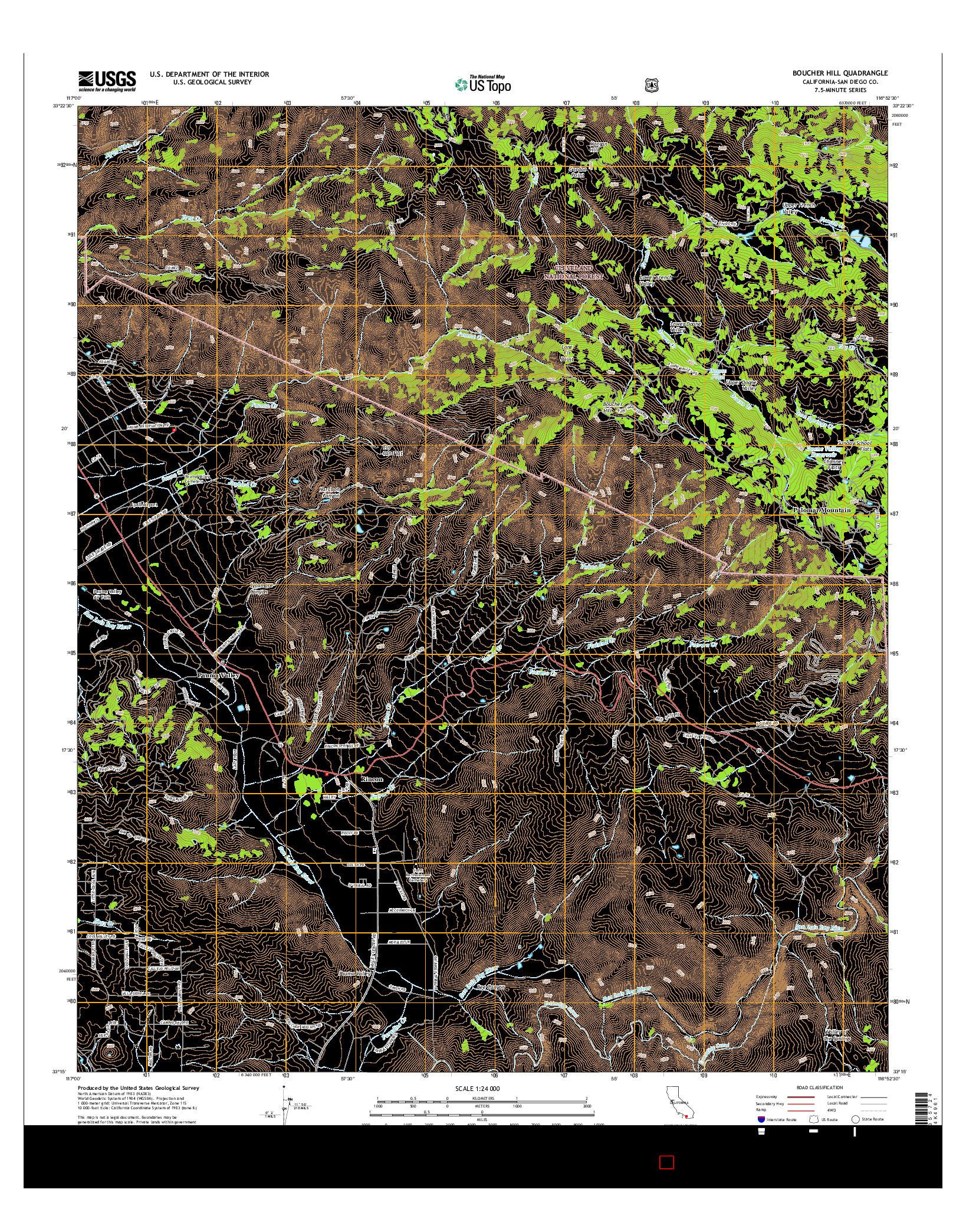 USGS US TOPO 7.5-MINUTE MAP FOR BOUCHER HILL, CA 2015
