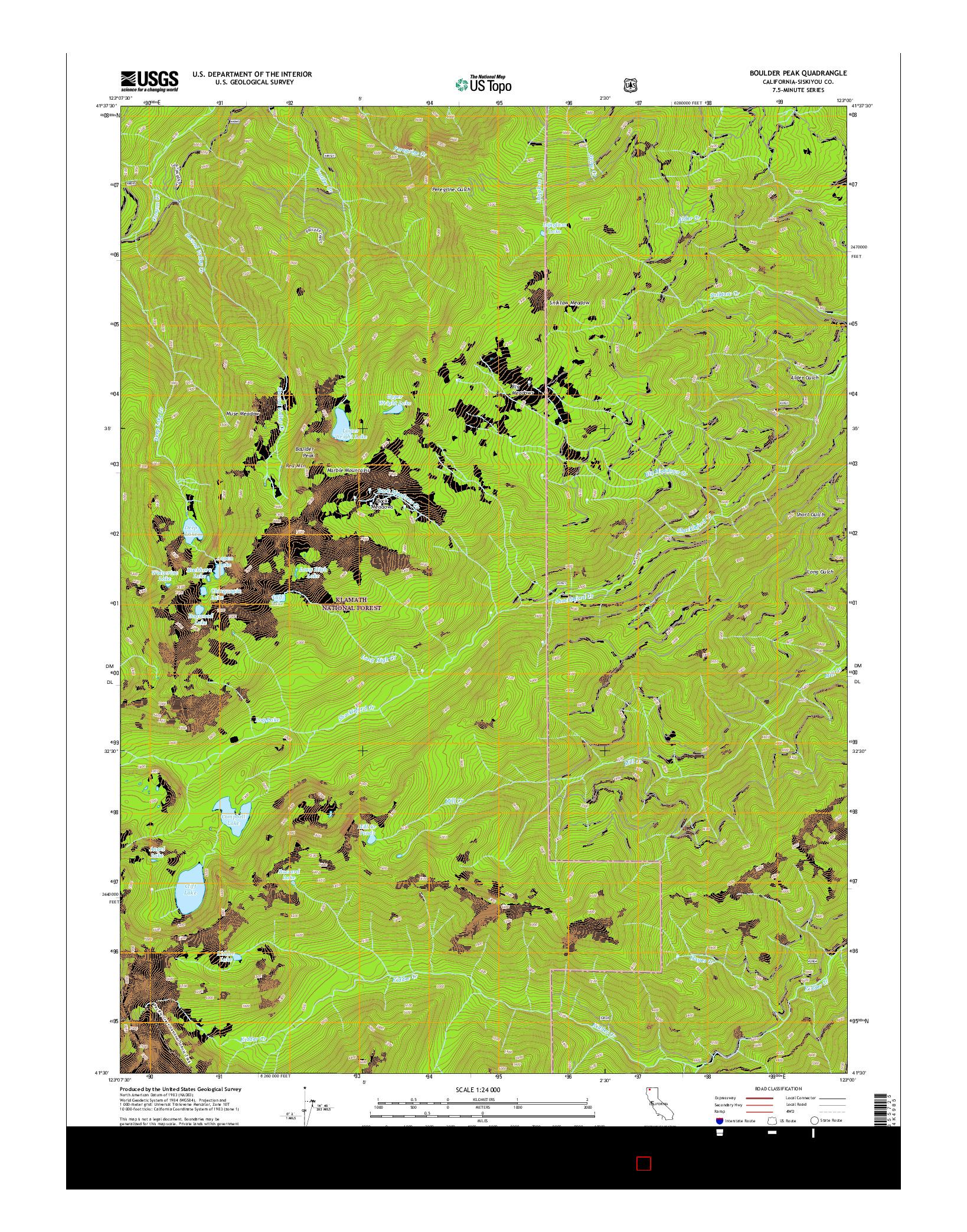 USGS US TOPO 7.5-MINUTE MAP FOR BOULDER PEAK, CA 2015