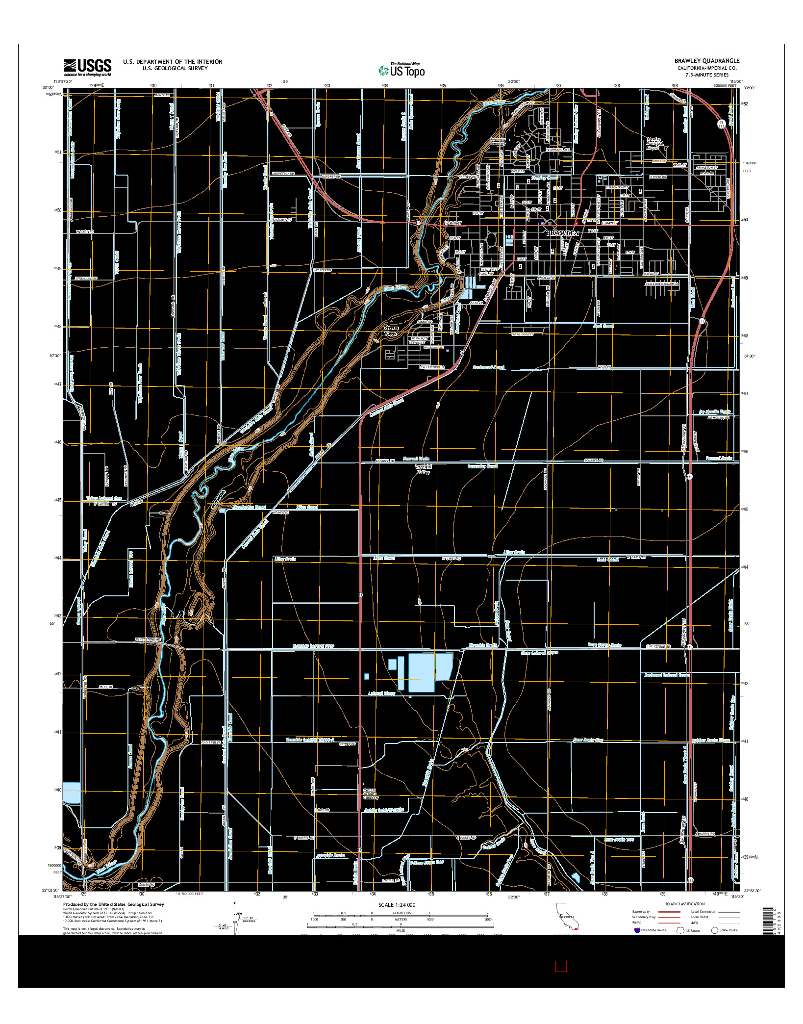 USGS US TOPO 7.5-MINUTE MAP FOR BRAWLEY, CA 2015
