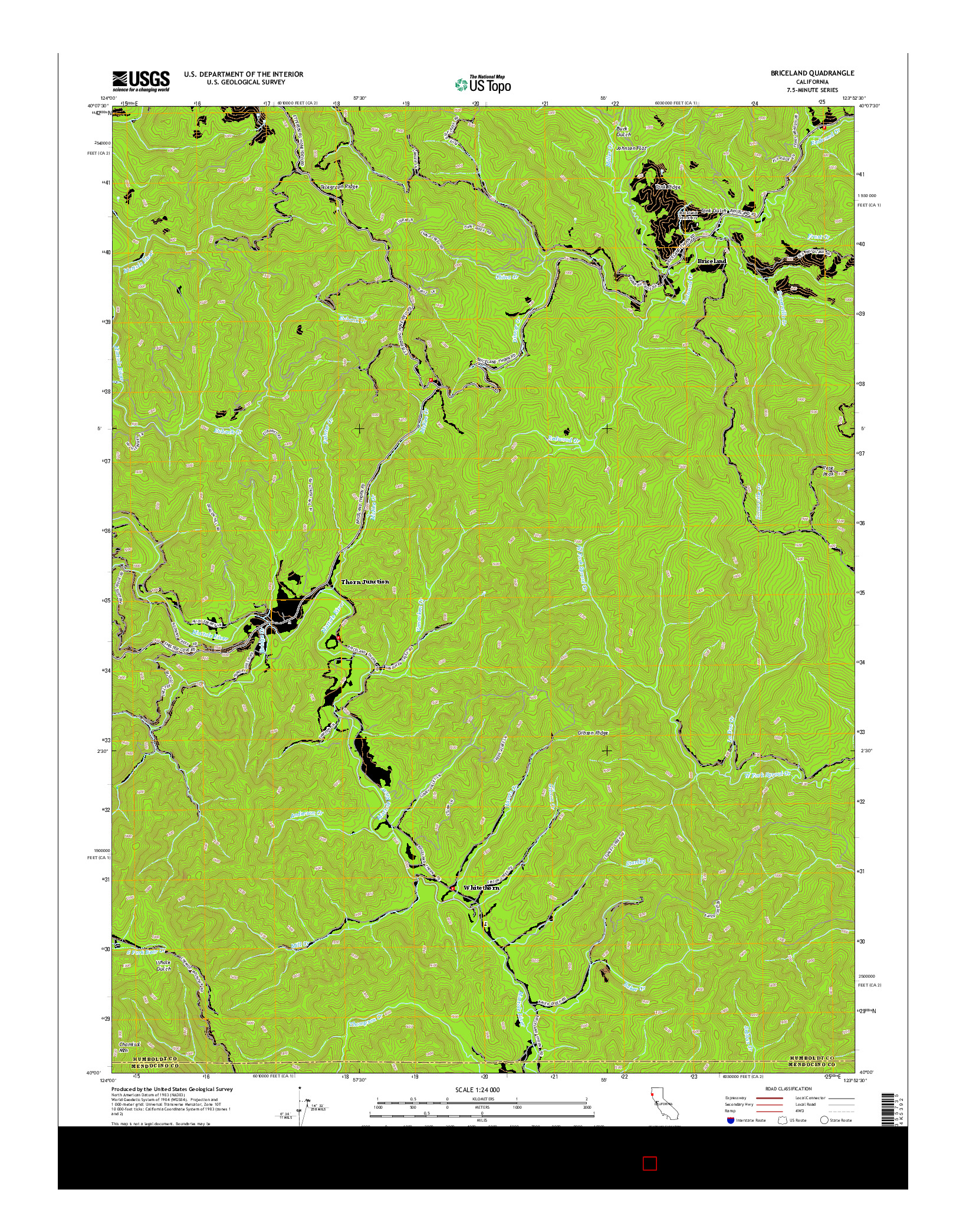 USGS US TOPO 7.5-MINUTE MAP FOR BRICELAND, CA 2015