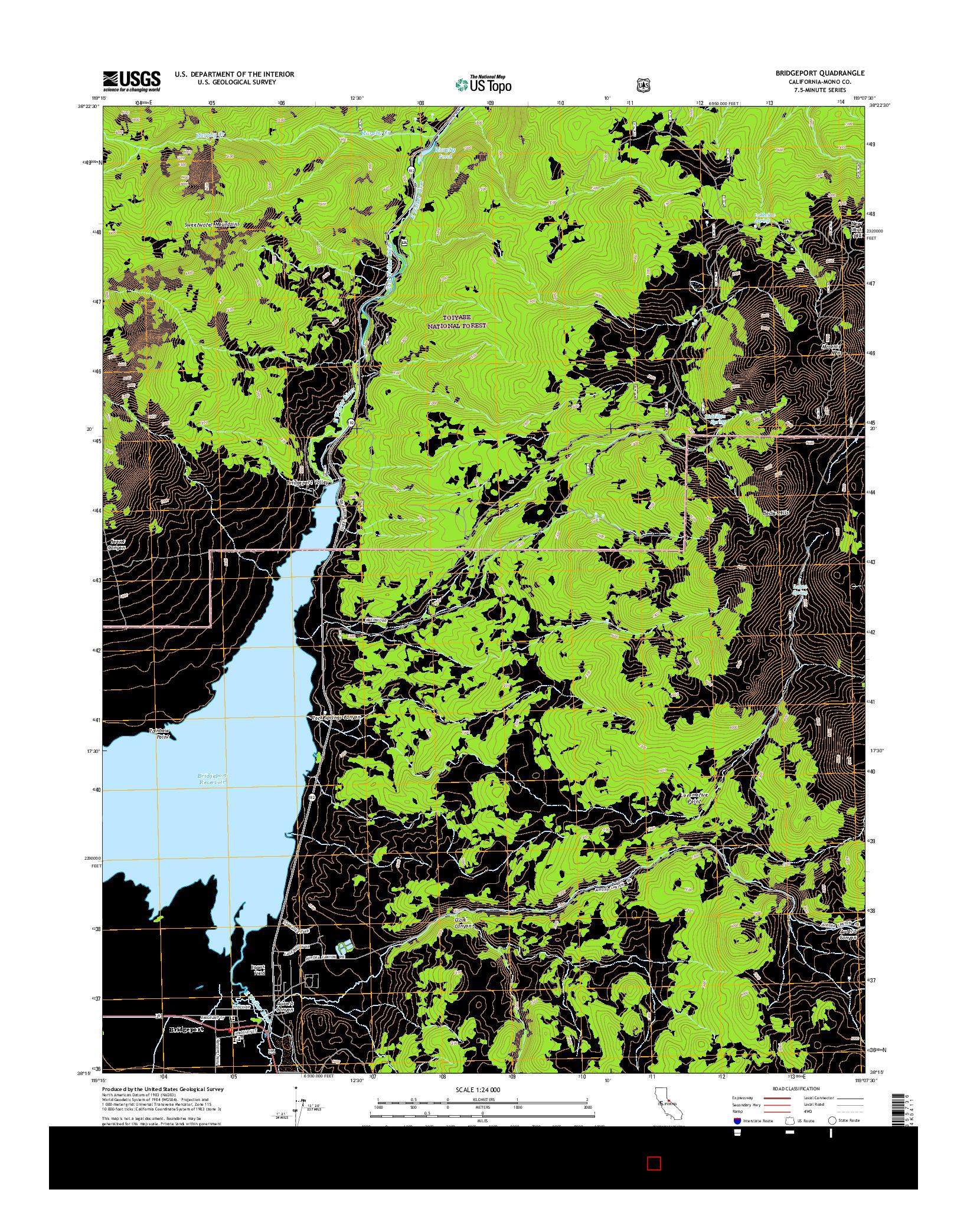 USGS US TOPO 7.5-MINUTE MAP FOR BRIDGEPORT, CA 2015