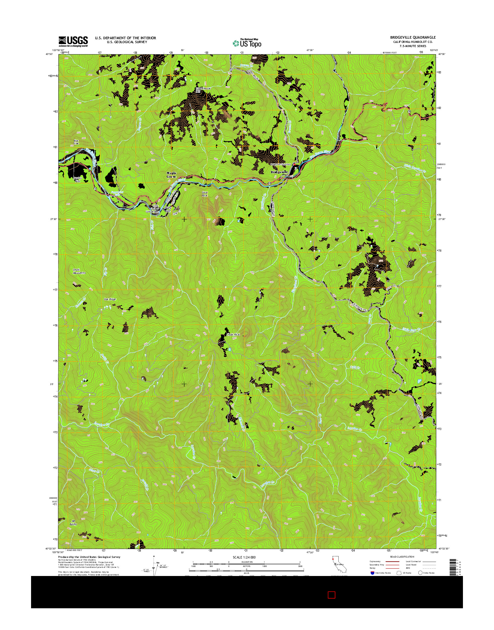 USGS US TOPO 7.5-MINUTE MAP FOR BRIDGEVILLE, CA 2015