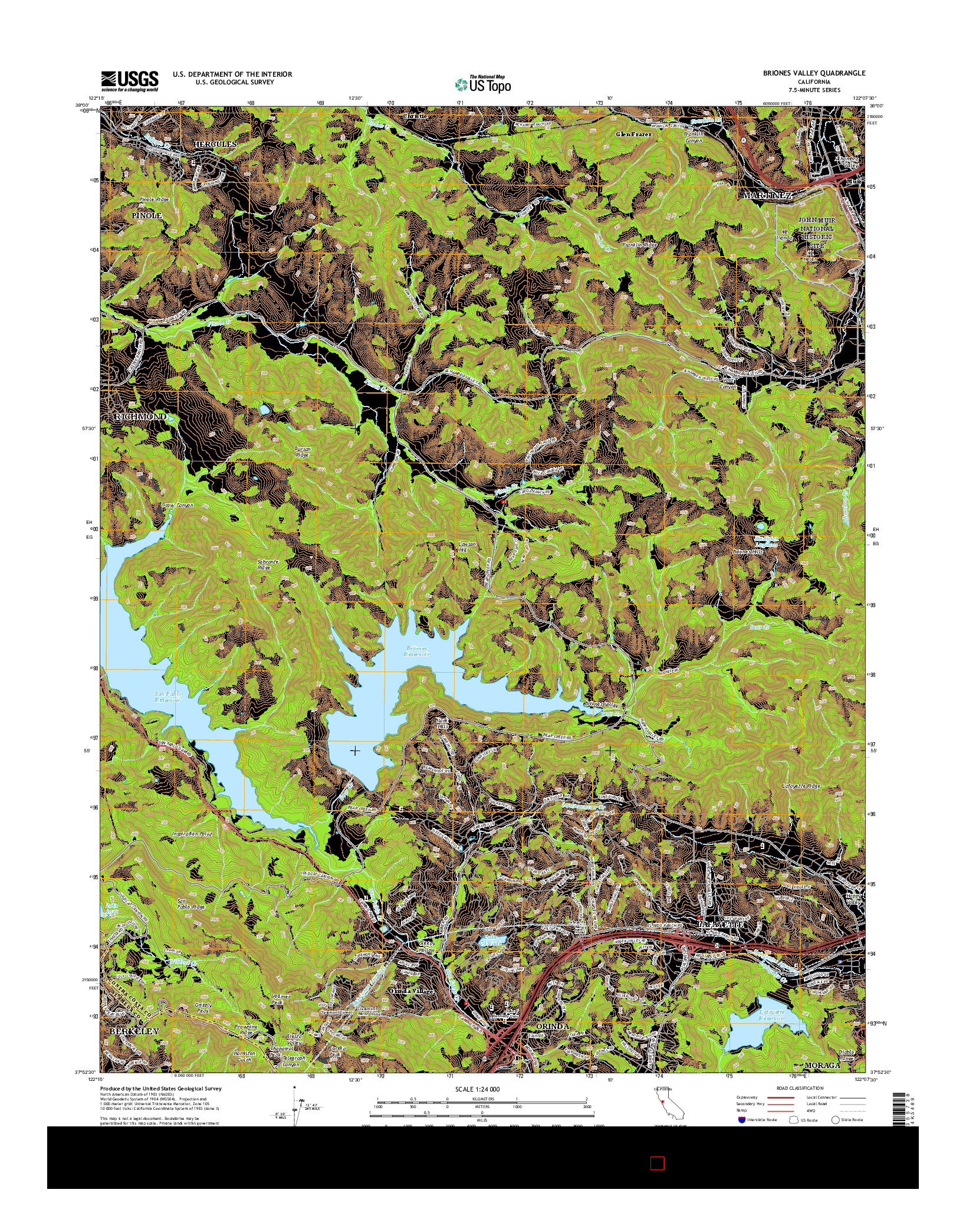 USGS US TOPO 7.5-MINUTE MAP FOR BRIONES VALLEY, CA 2015