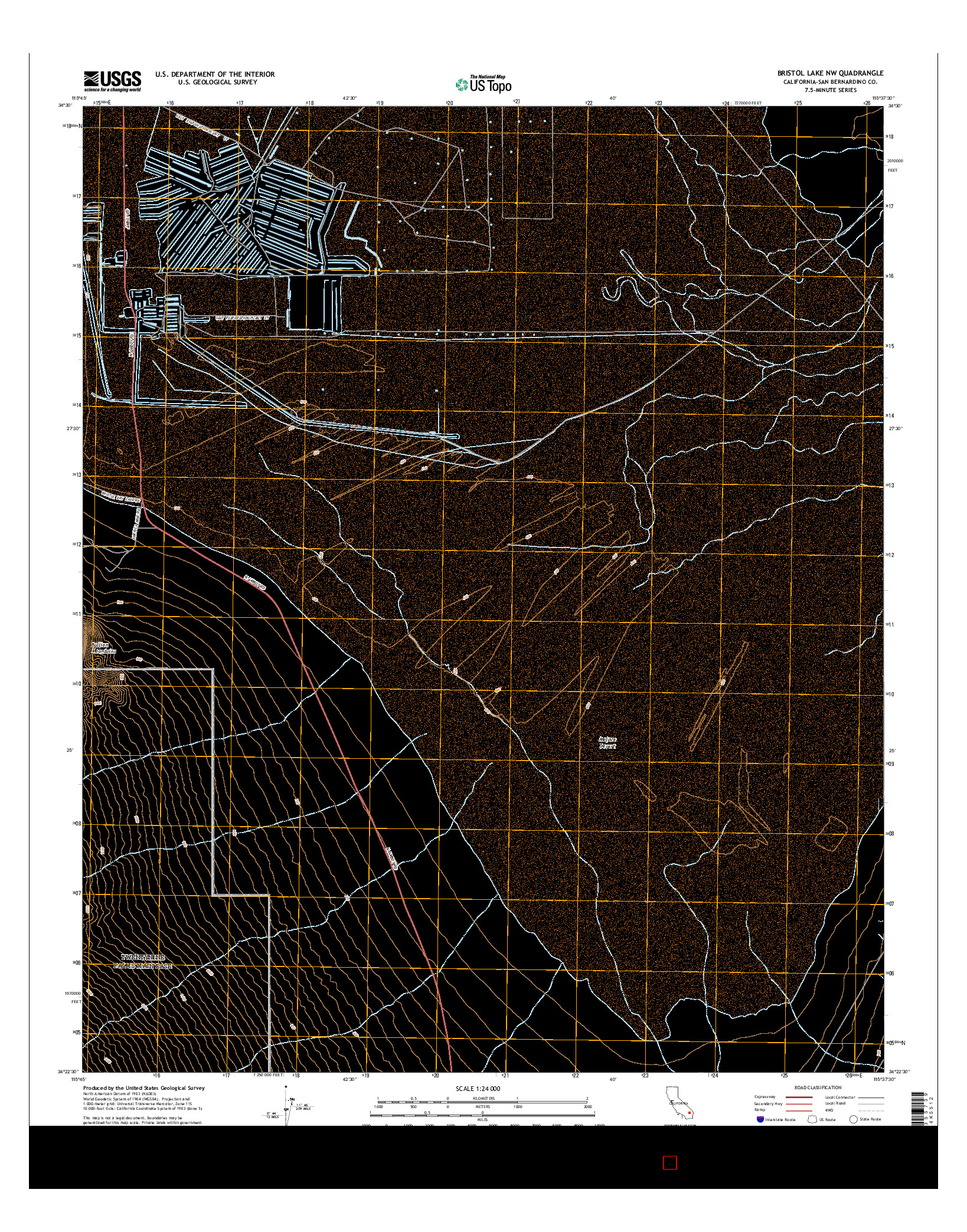 USGS US TOPO 7.5-MINUTE MAP FOR BRISTOL LAKE NW, CA 2015