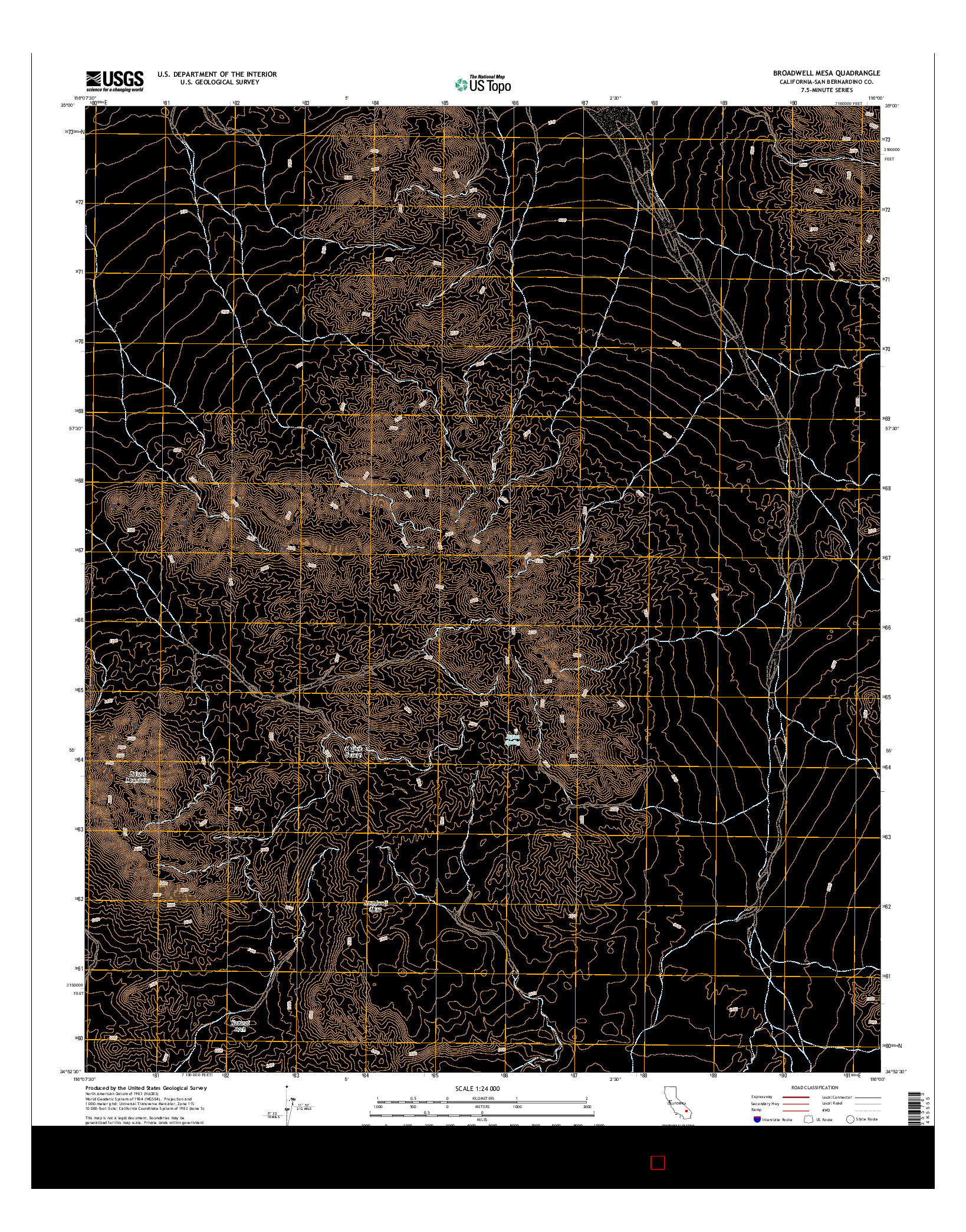 USGS US TOPO 7.5-MINUTE MAP FOR BROADWELL MESA, CA 2015