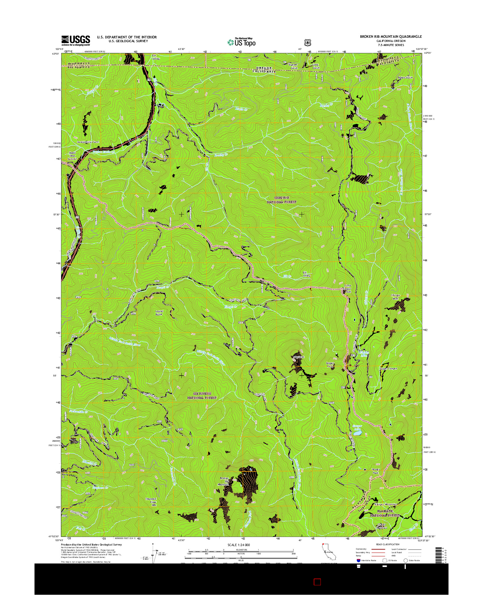 USGS US TOPO 7.5-MINUTE MAP FOR BROKEN RIB MOUNTAIN, CA-OR 2015