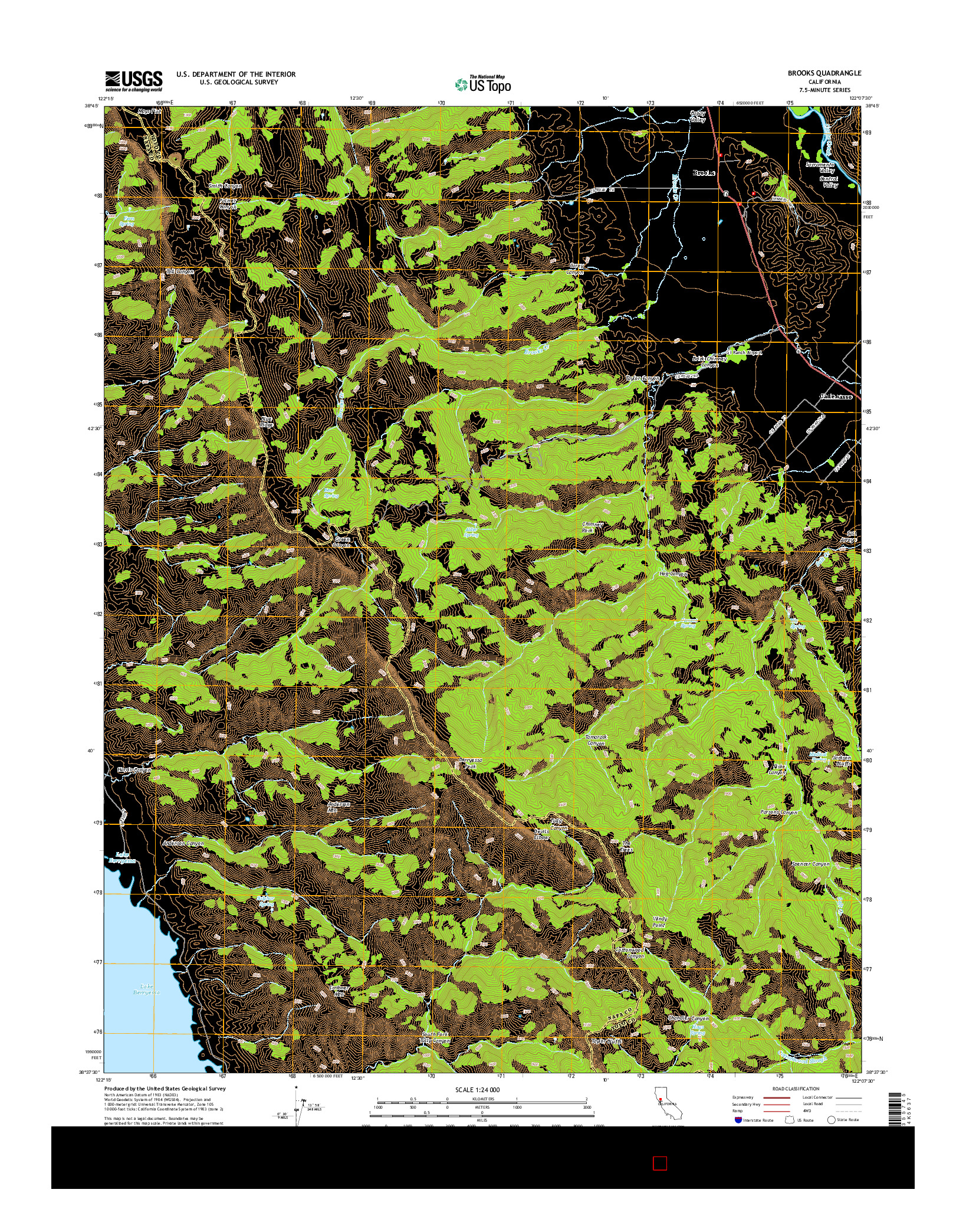 USGS US TOPO 7.5-MINUTE MAP FOR BROOKS, CA 2015