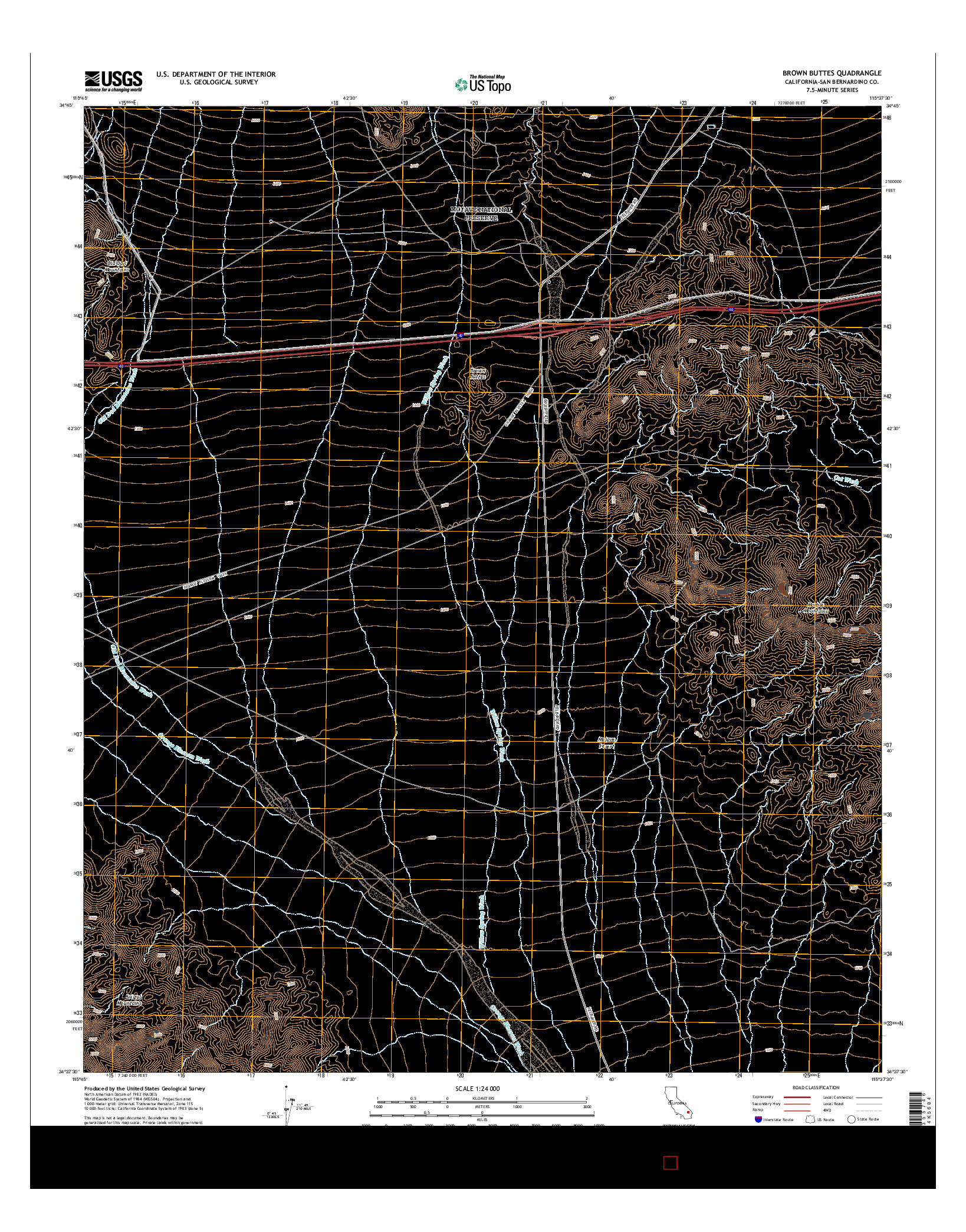USGS US TOPO 7.5-MINUTE MAP FOR BROWN BUTTES, CA 2015