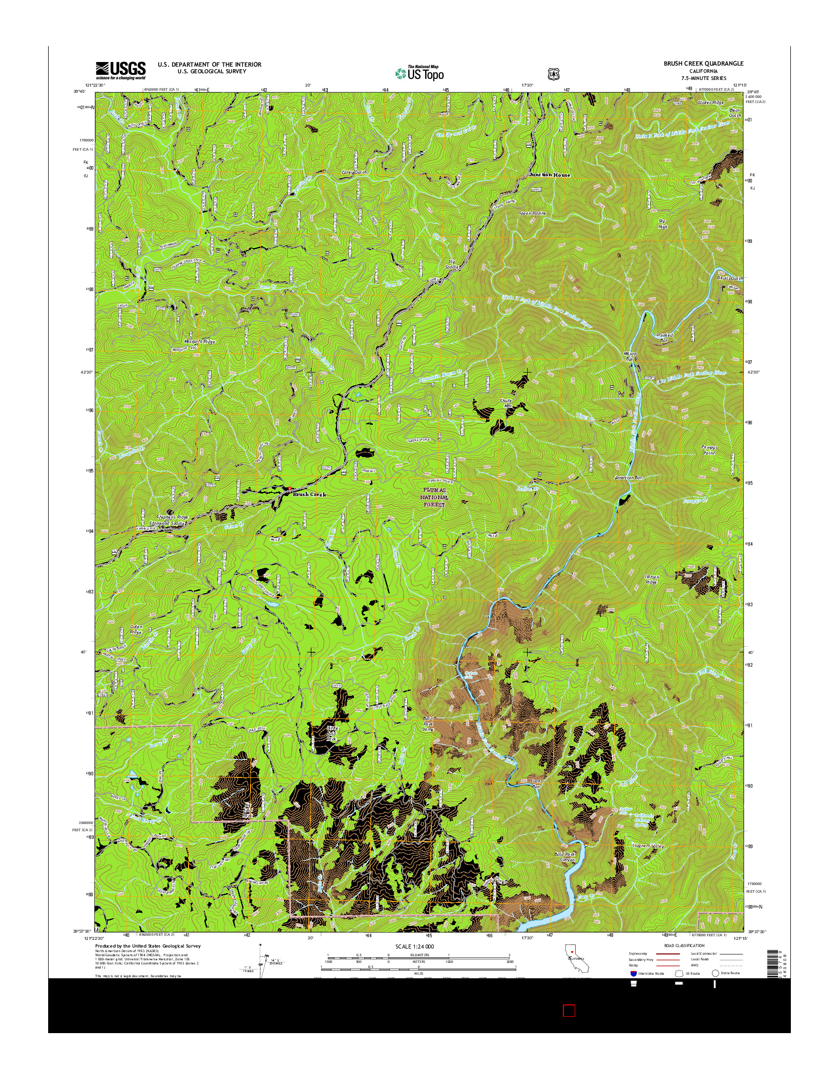 USGS US TOPO 7.5-MINUTE MAP FOR BRUSH CREEK, CA 2015
