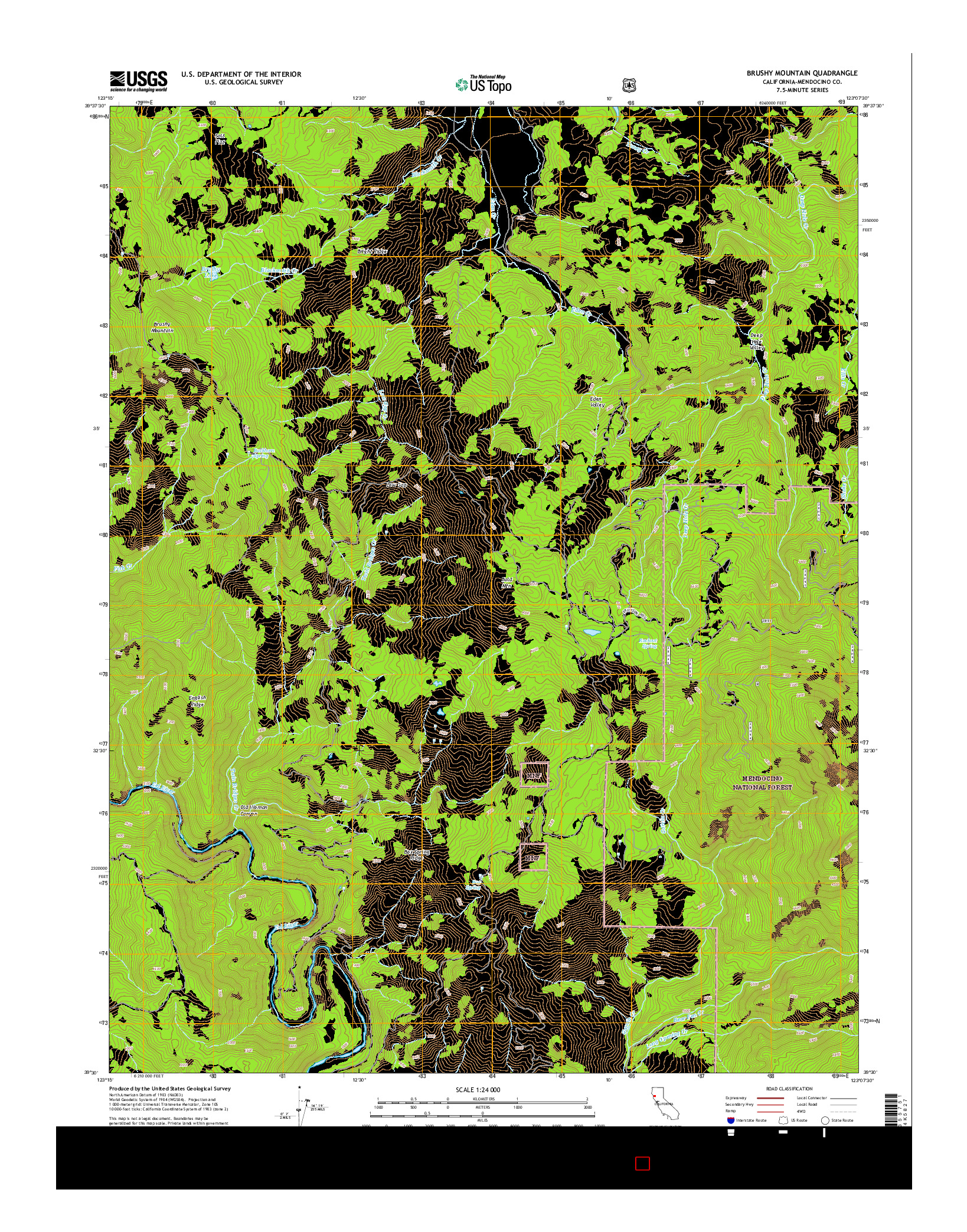USGS US TOPO 7.5-MINUTE MAP FOR BRUSHY MOUNTAIN, CA 2015