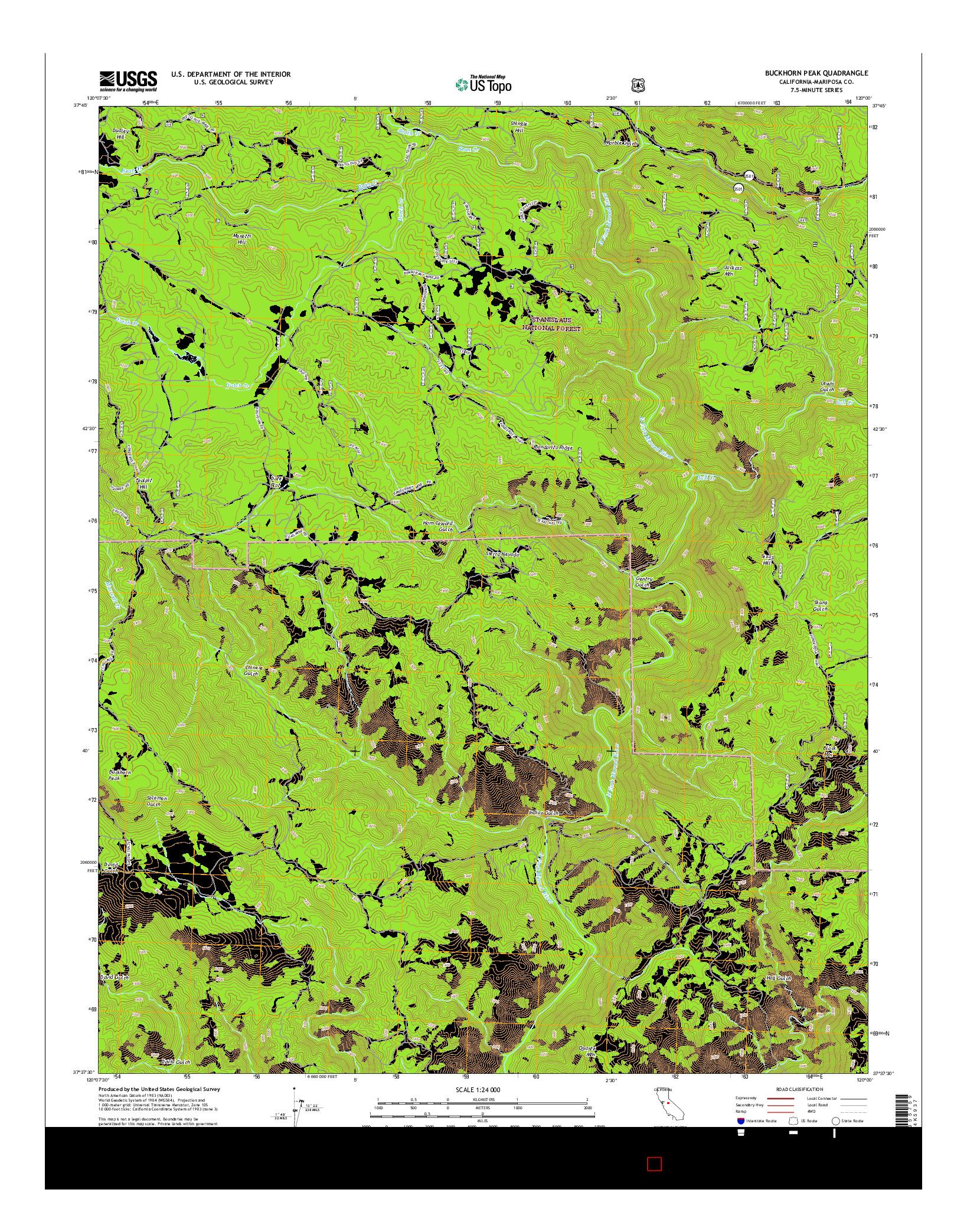 USGS US TOPO 7.5-MINUTE MAP FOR BUCKHORN PEAK, CA 2015