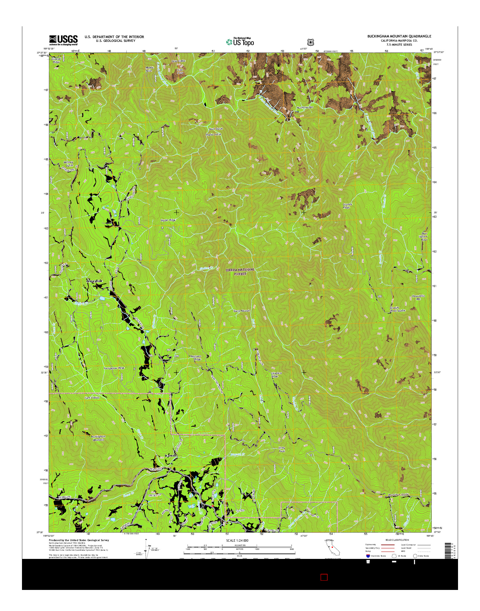 USGS US TOPO 7.5-MINUTE MAP FOR BUCKINGHAM MOUNTAIN, CA 2015
