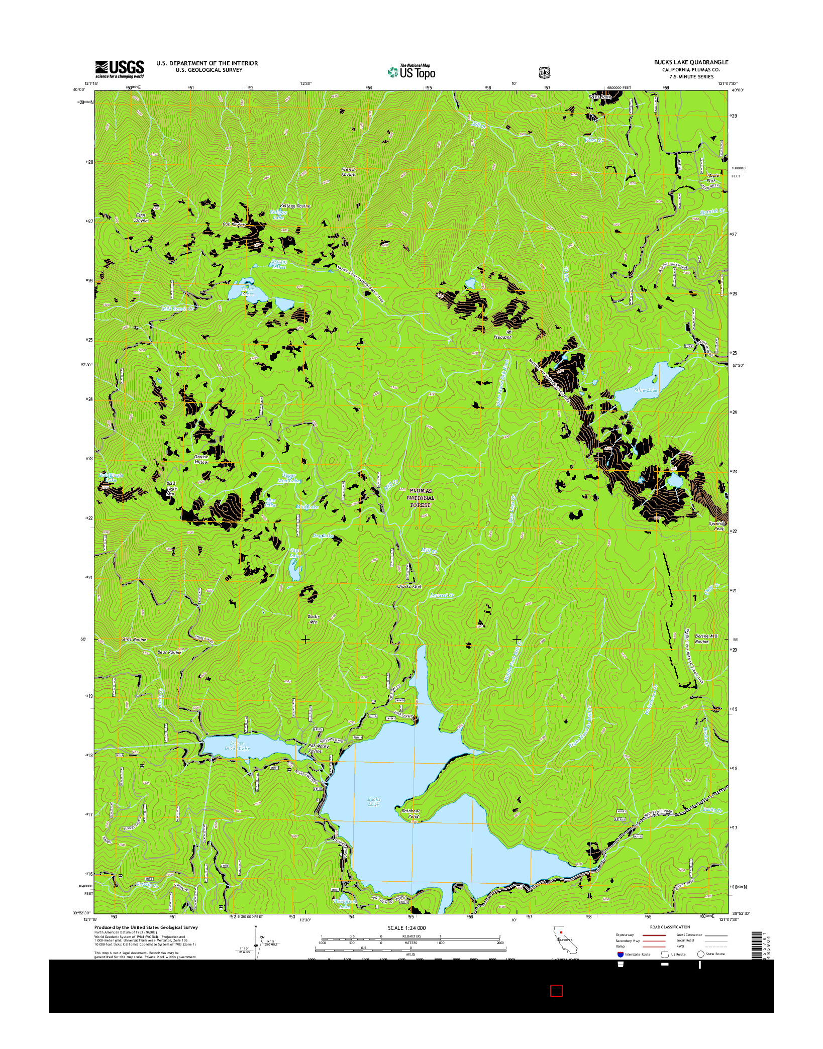 USGS US TOPO 7.5-MINUTE MAP FOR BUCKS LAKE, CA 2015