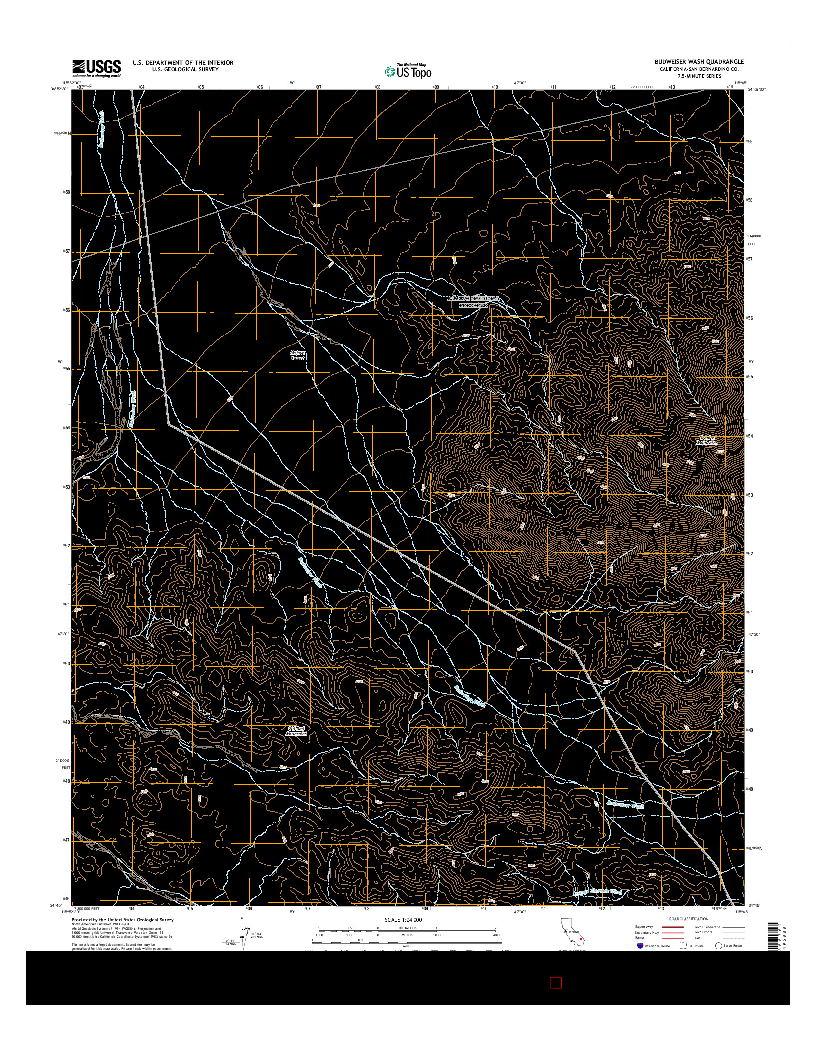 USGS US TOPO 7.5-MINUTE MAP FOR BUDWEISER WASH, CA 2015