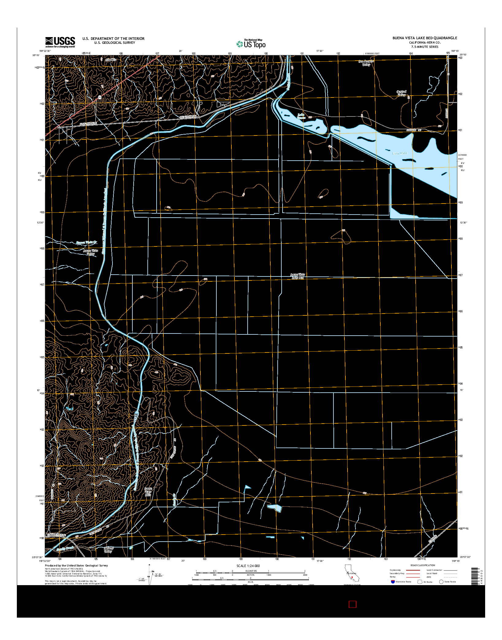USGS US TOPO 7.5-MINUTE MAP FOR BUENA VISTA LAKE BED, CA 2015