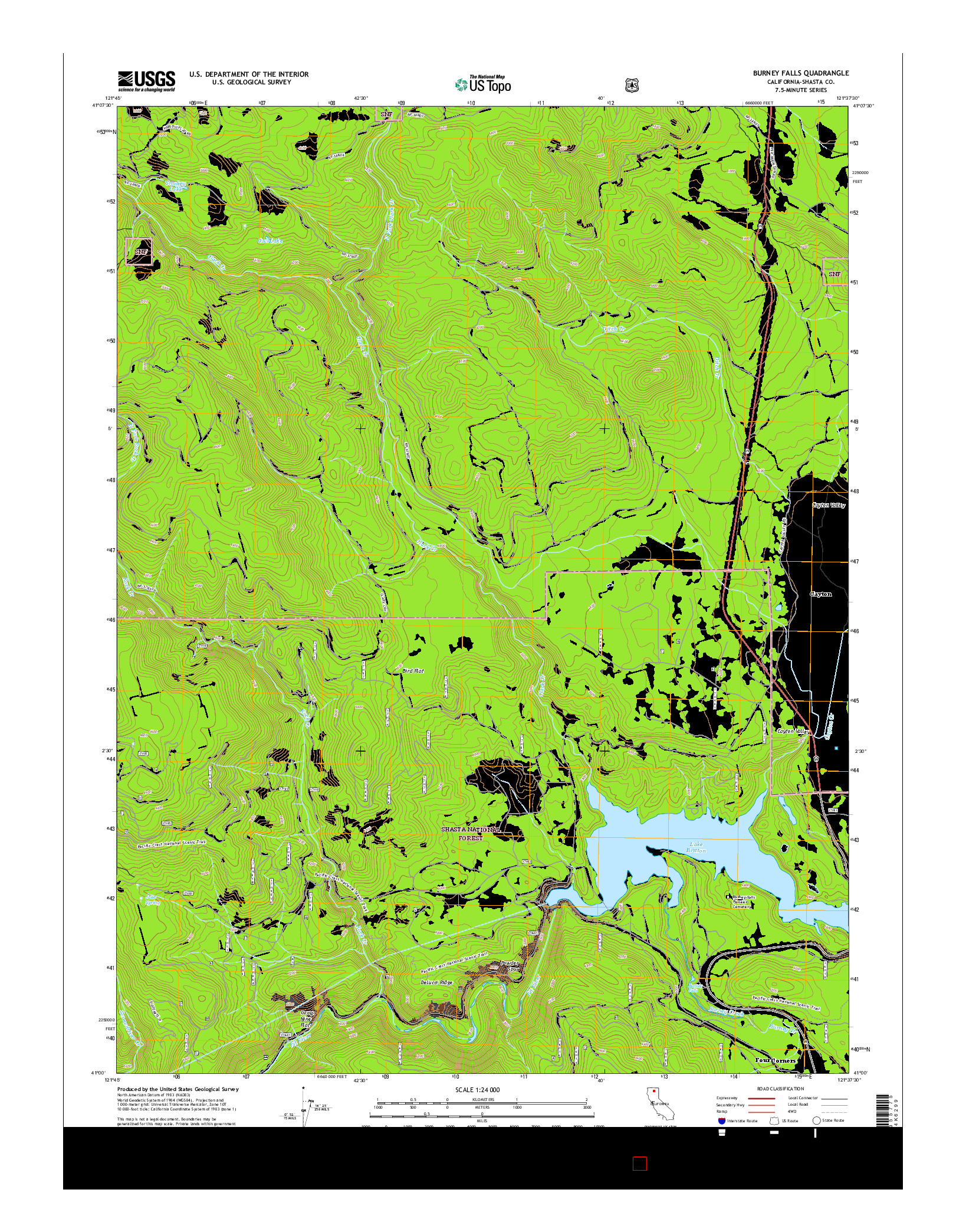 USGS US TOPO 7.5-MINUTE MAP FOR BURNEY FALLS, CA 2015