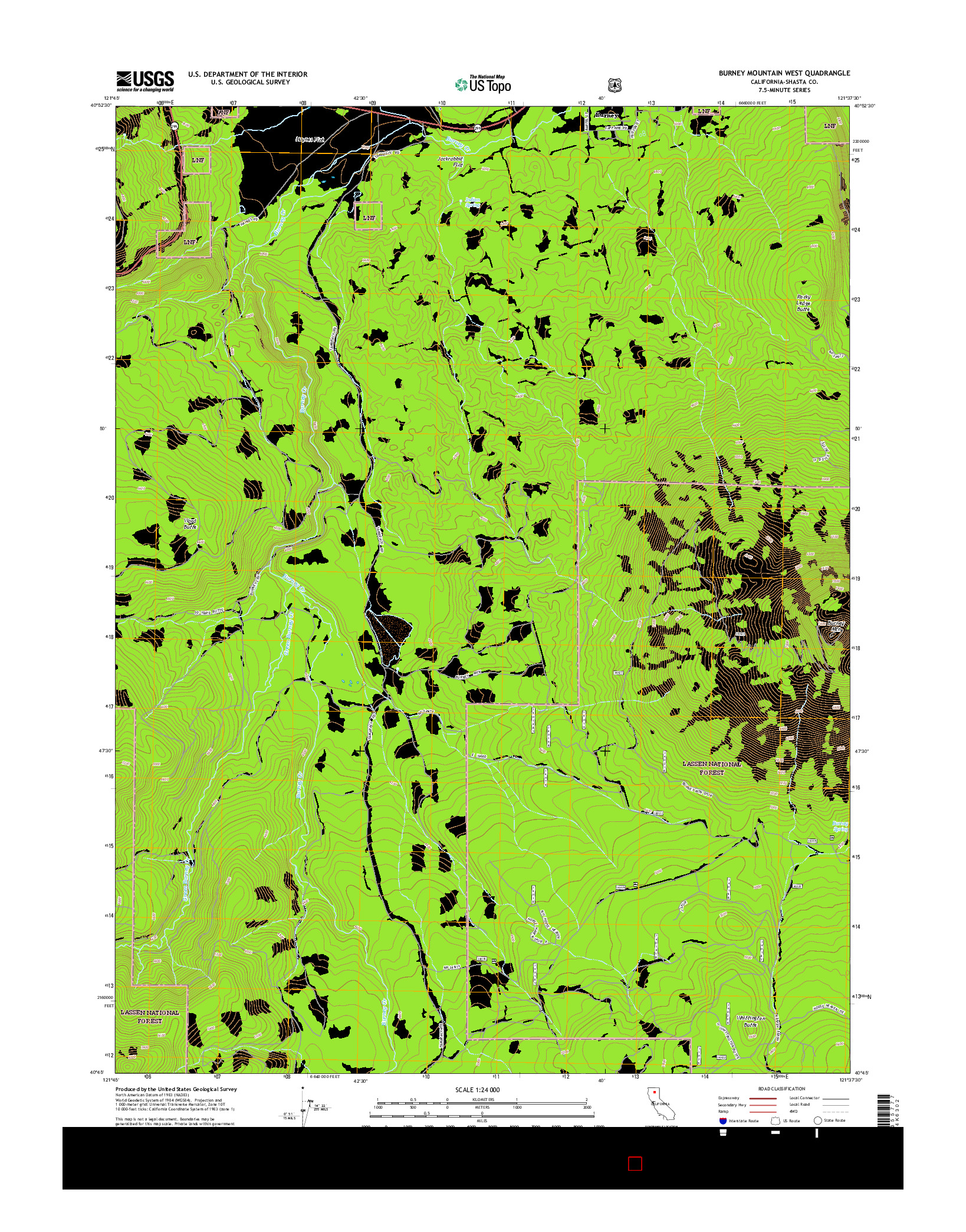 USGS US TOPO 7.5-MINUTE MAP FOR BURNEY MOUNTAIN WEST, CA 2015