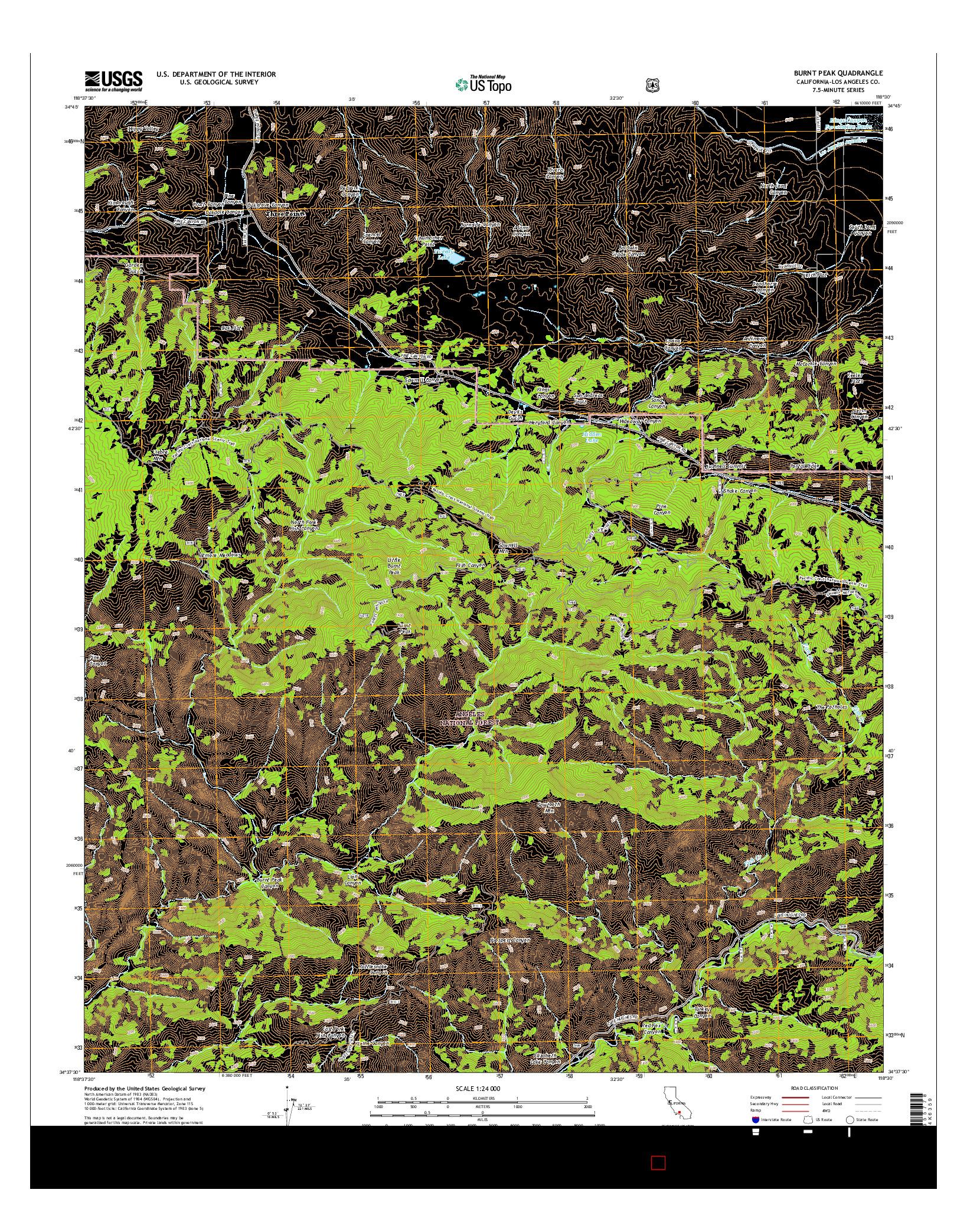 USGS US TOPO 7.5-MINUTE MAP FOR BURNT PEAK, CA 2015
