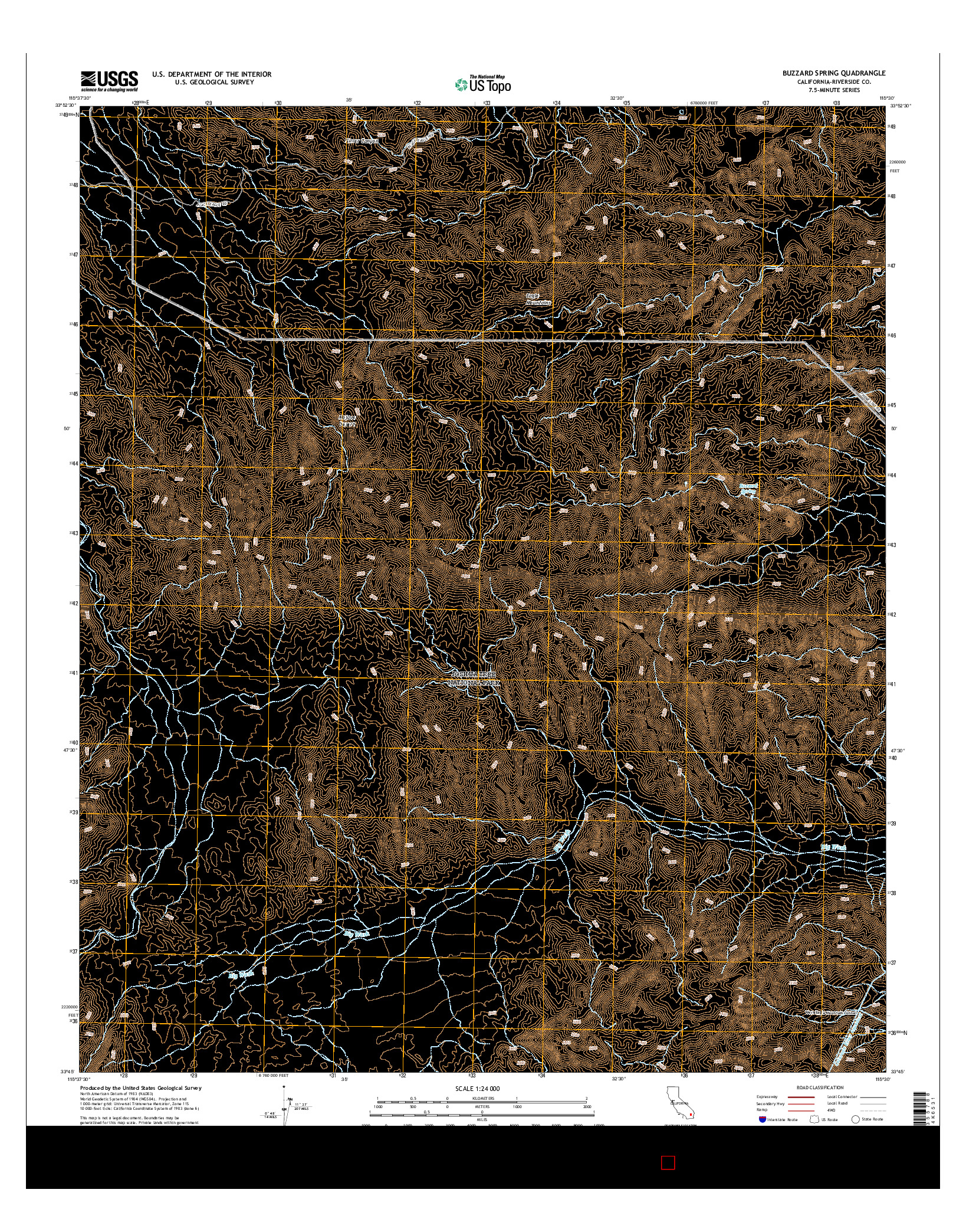 USGS US TOPO 7.5-MINUTE MAP FOR BUZZARD SPRING, CA 2015