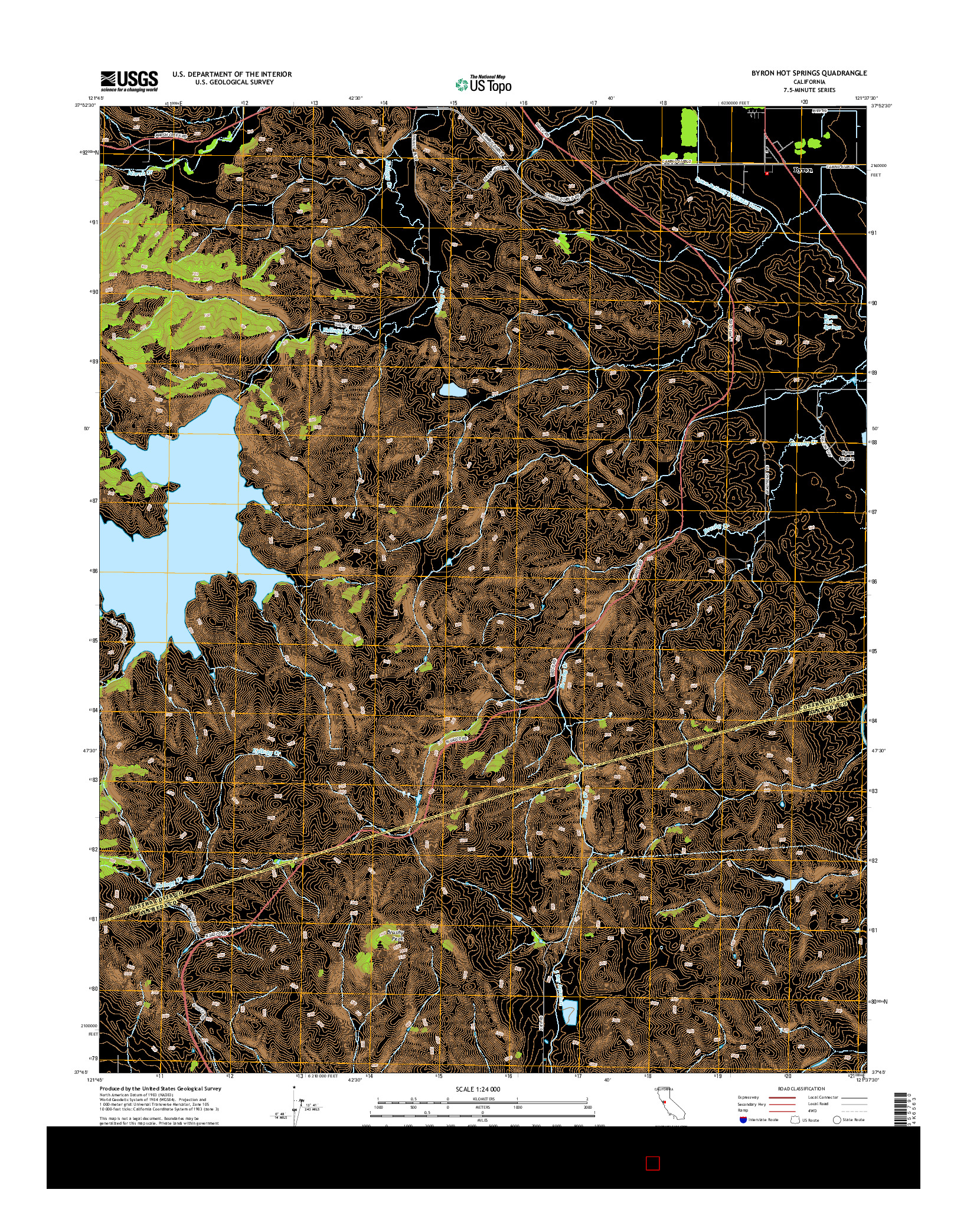 USGS US TOPO 7.5-MINUTE MAP FOR BYRON HOT SPRINGS, CA 2015