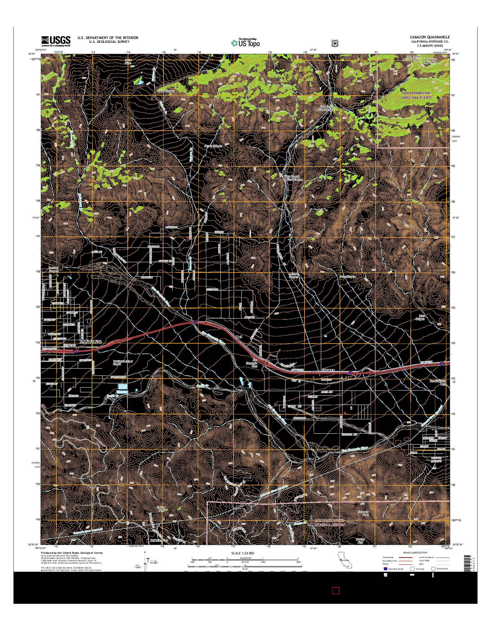 USGS US TOPO 7.5-MINUTE MAP FOR CABAZON, CA 2015