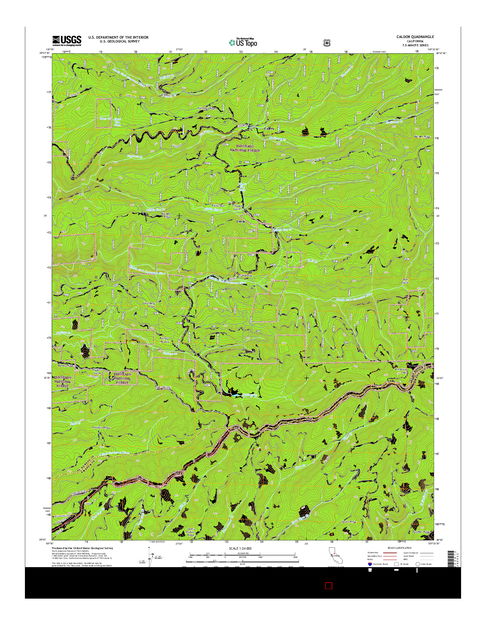 USGS US TOPO 7.5-MINUTE MAP FOR CALDOR, CA 2015